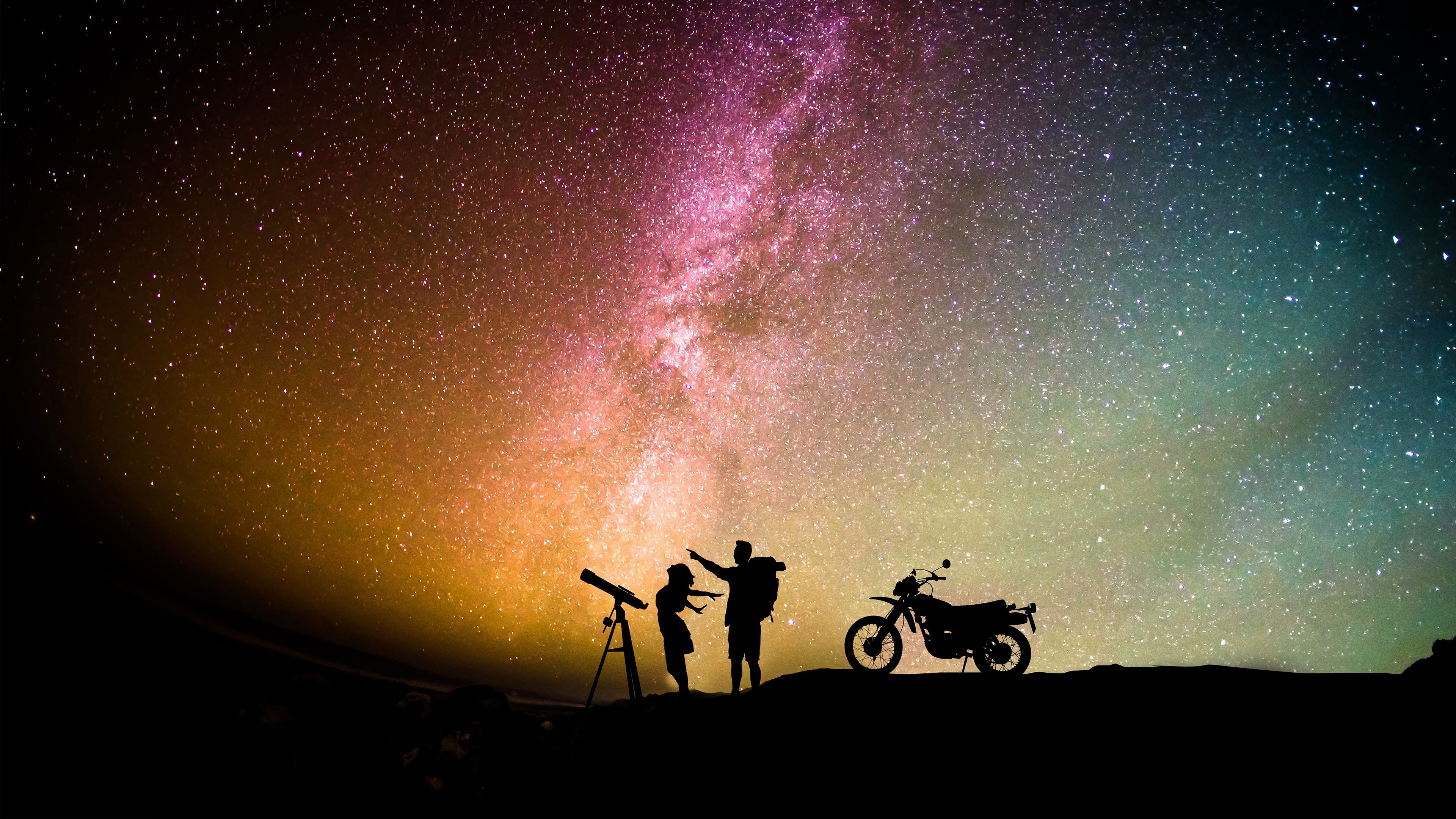 Wallpaper Night Starry Stars Sky Lovers Motorcycle Romantic