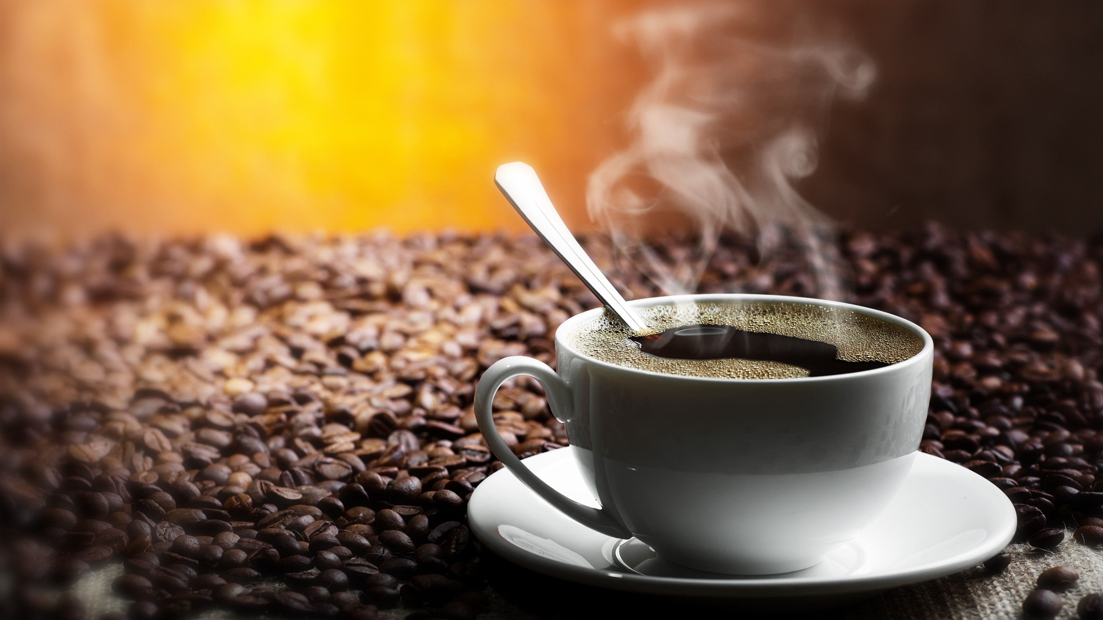 Wallpaper One Cup Coffee Steam Coffee Beans 3840x2160 Uhd 4k Picture Image