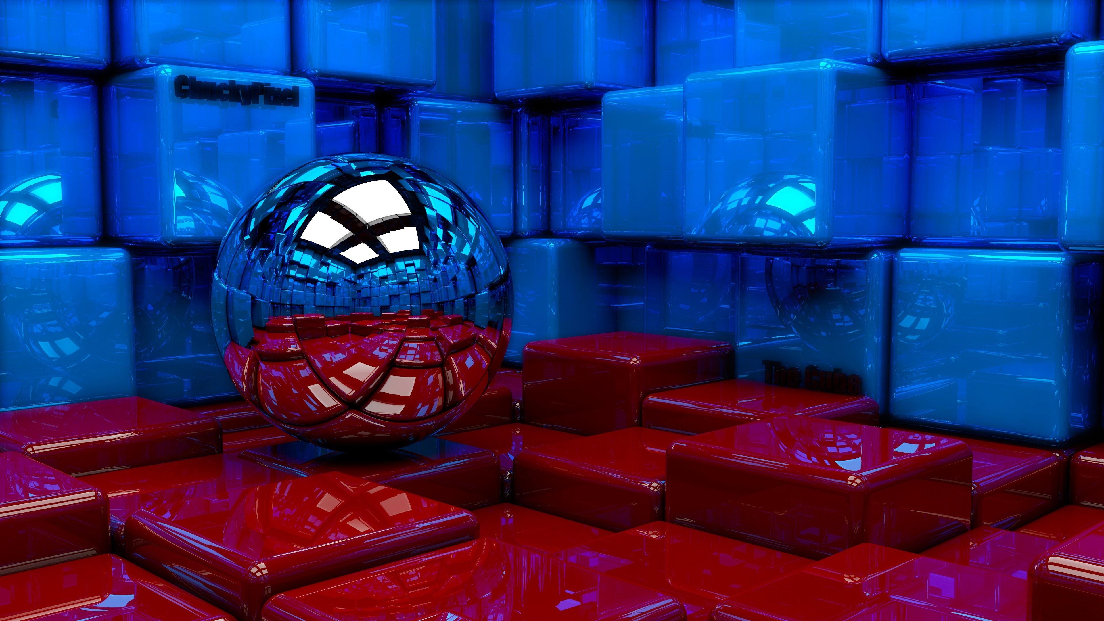 Wallpaper 3d Design Blue And Red Cubes Ball 3840x2160 Uhd