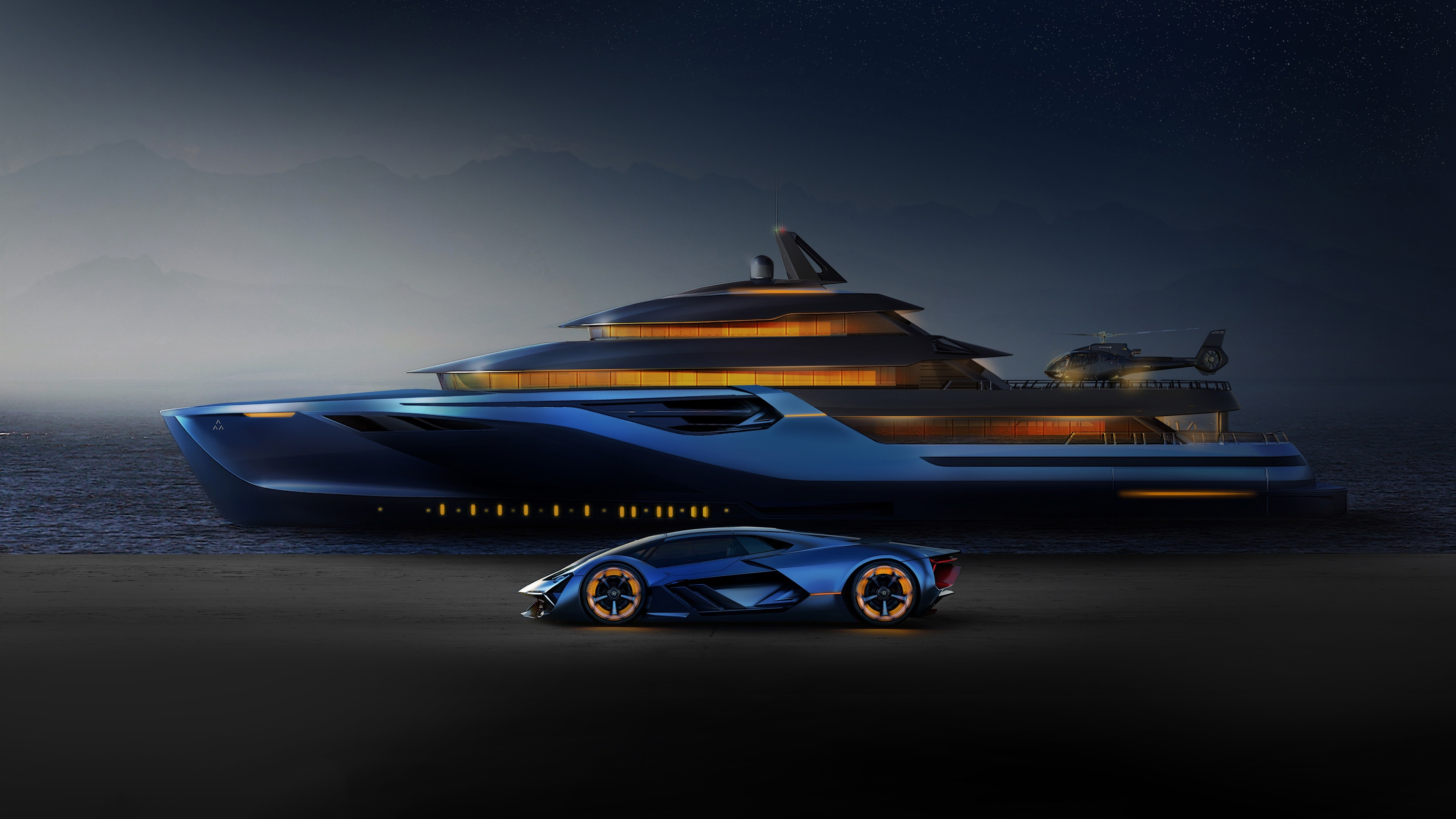 Wallpaper Blue Lamborghini, yacht, helicopter 3840x2160 UHD