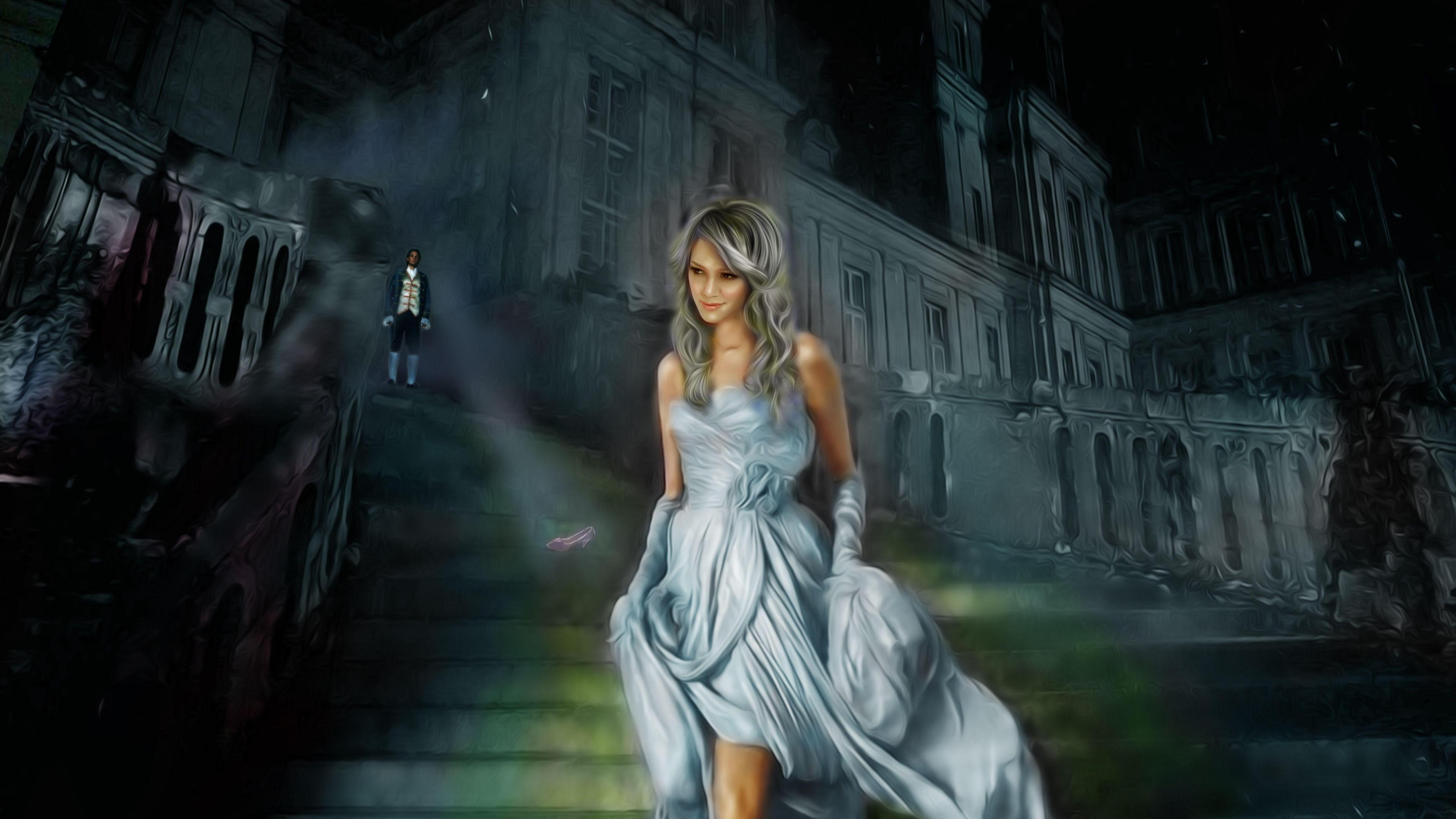 壁紙 シンデレラ 笑顔の女の子 スカート はしご アート画像