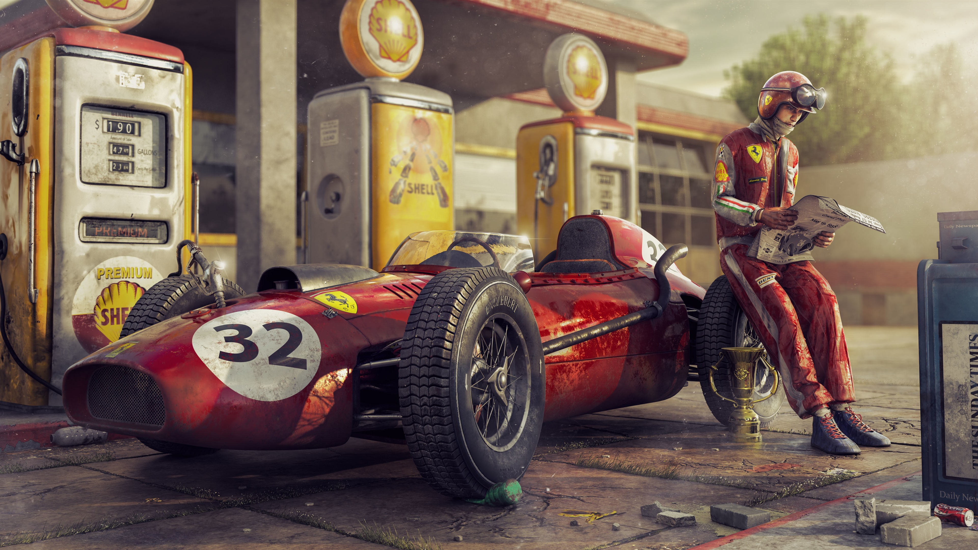 Wallpaper Ferrari F1 Racing Car Retro Driver 3840x2160 Uhd 4k Picture Image