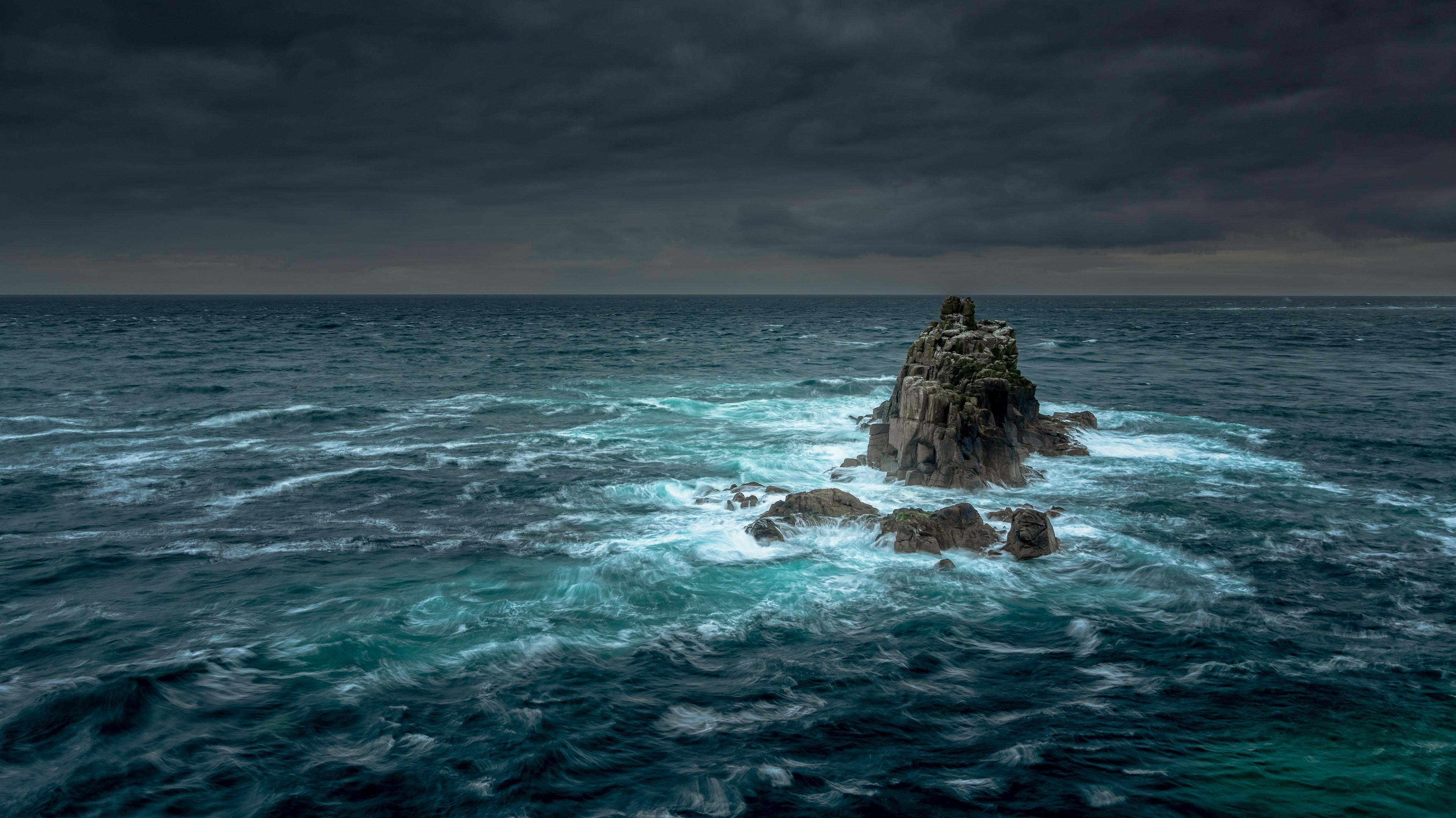 Wallpaper Rocks Sea Storm Clouds 3840x2160 Uhd 4k Picture