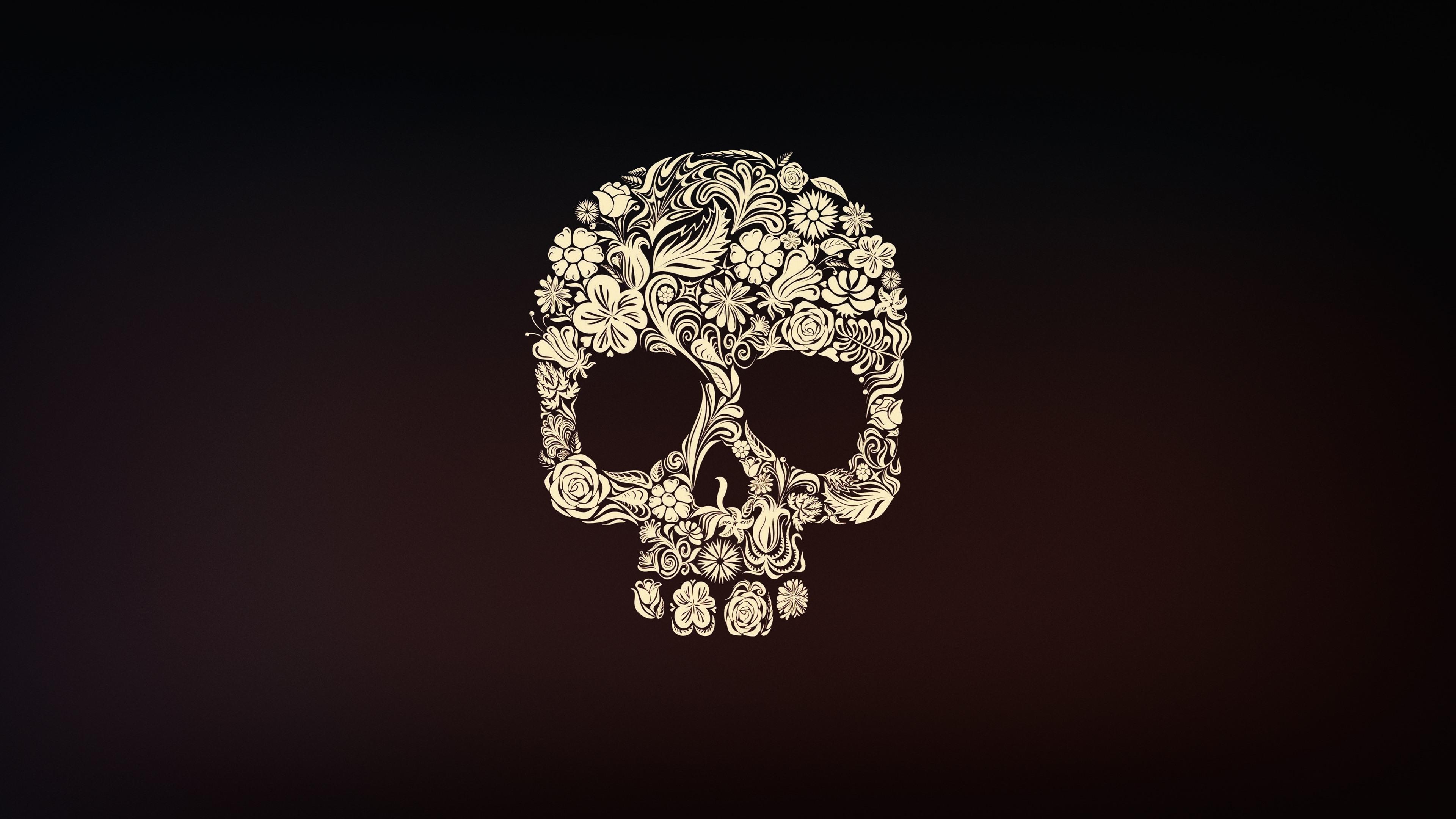 Wallpaper Skull Flowers Art Picture 3840x2160 Uhd 4k