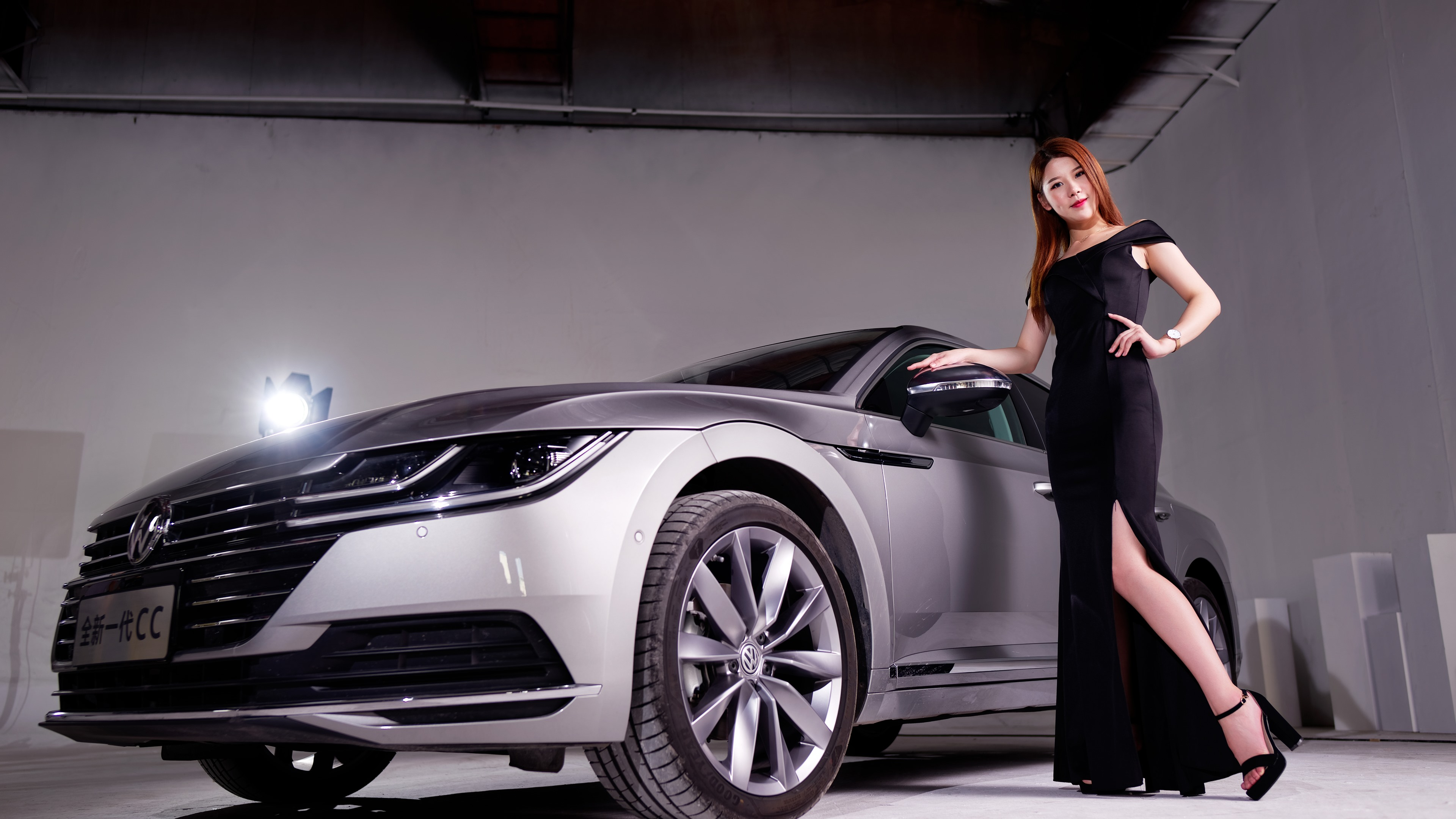 Wallpaper Volkswagen Silver Car Black Skirt Girl 3840x2160 Uhd 4k Picture Image