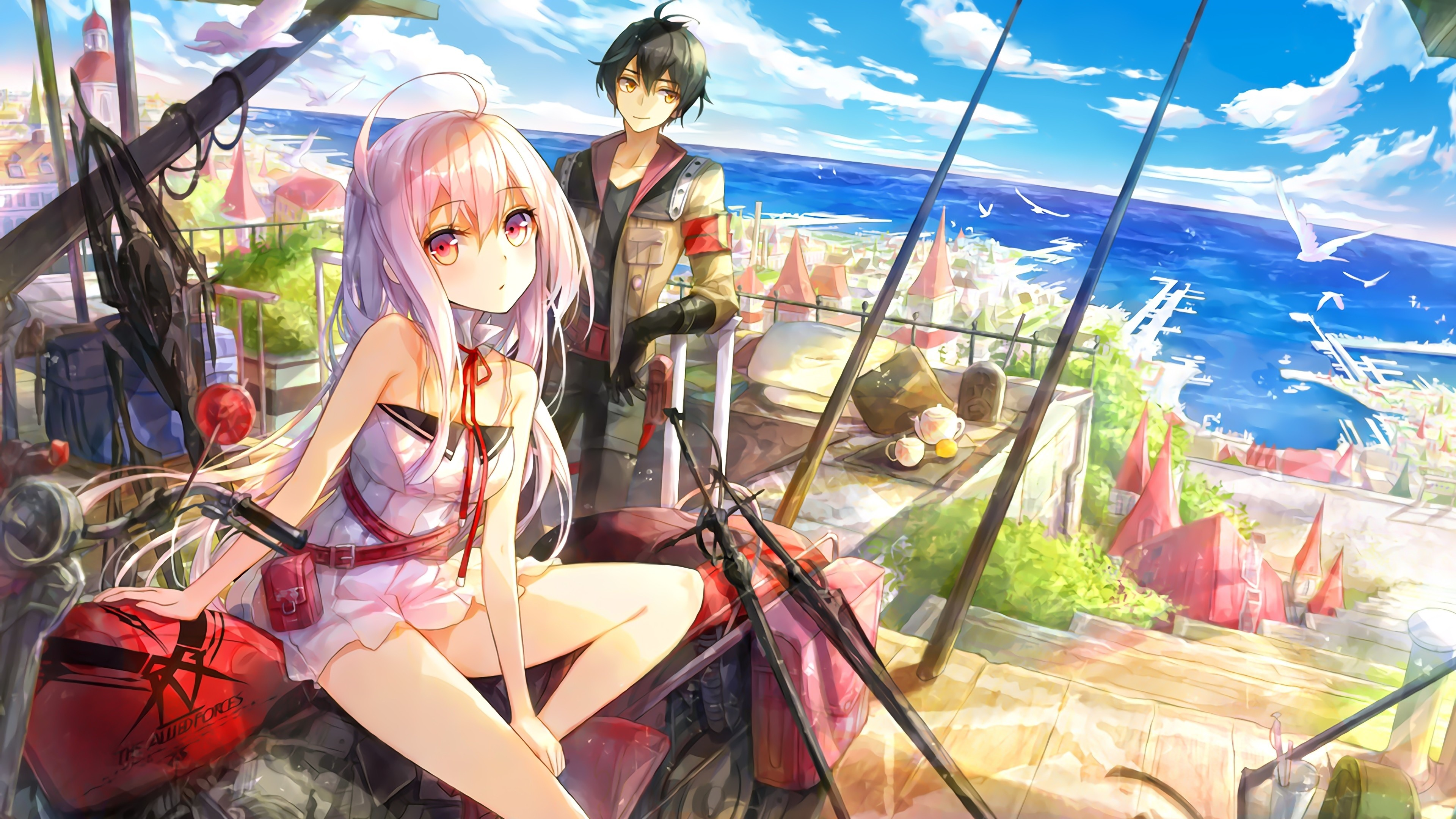 壁紙 アニメの女の子と男の子 市 海 海岸 カモメ 3840x2160 Uhd 4k 無料のデスクトップの背景 画像