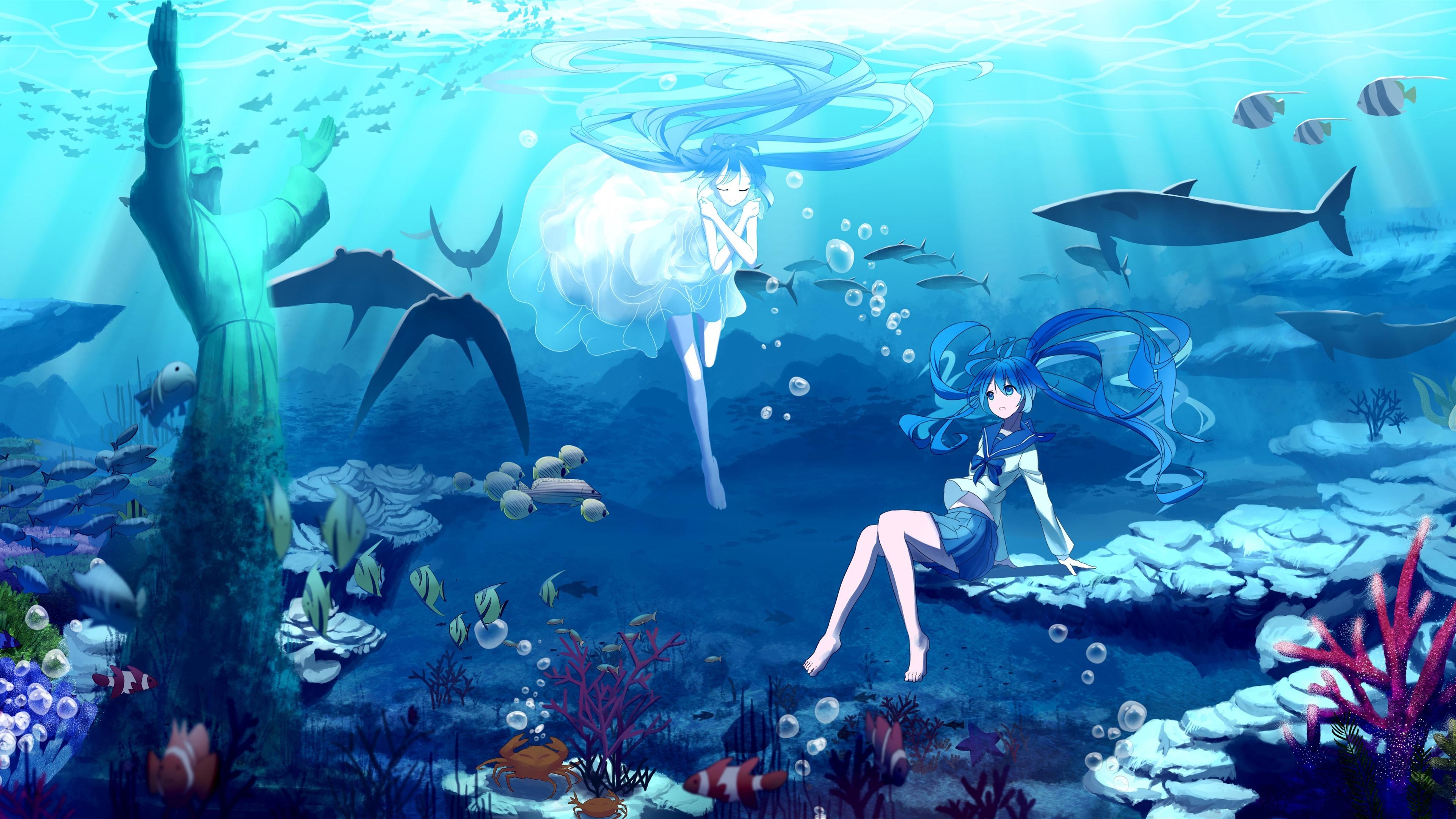 Wallpaper Hatsune Miku Blue Hair Anime Girls Underwater