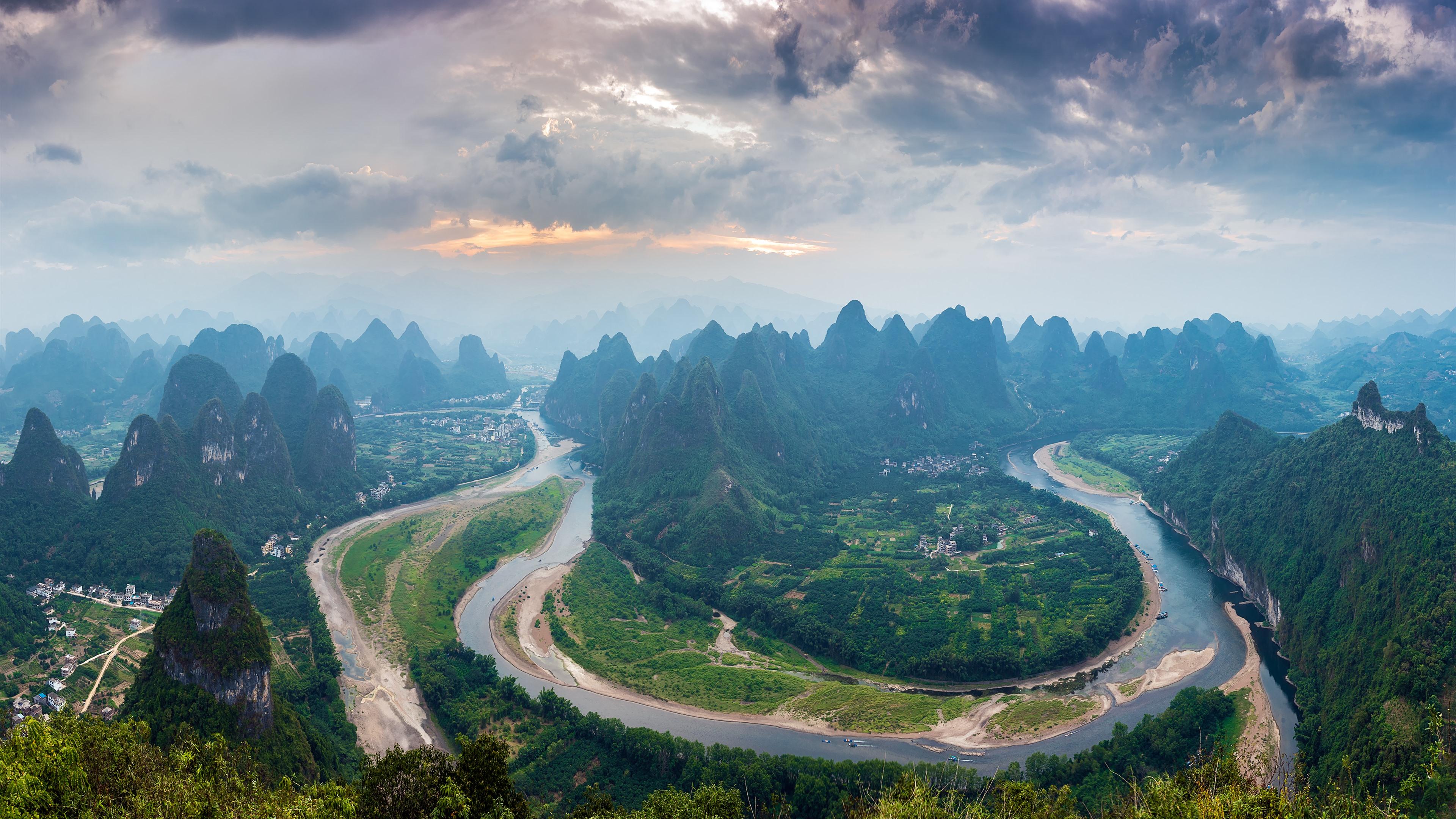 壁紙 漓江の最初の湾 山 村 美しい風景 中国 3840x2160 Uhd 4k 無料のデスクトップの背景 画像