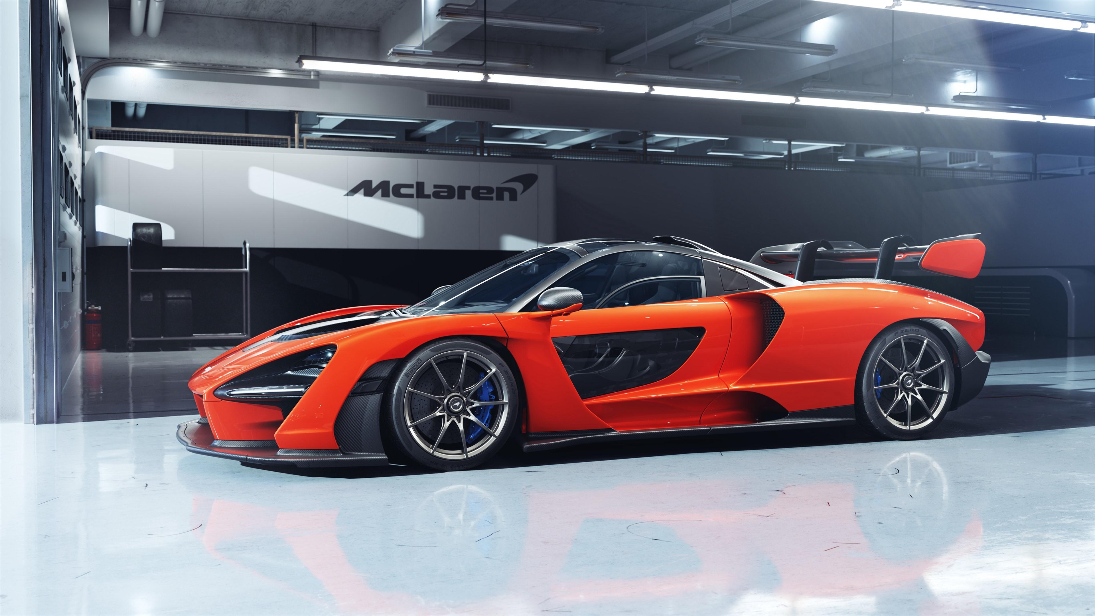McLaren Senna orange supercar side