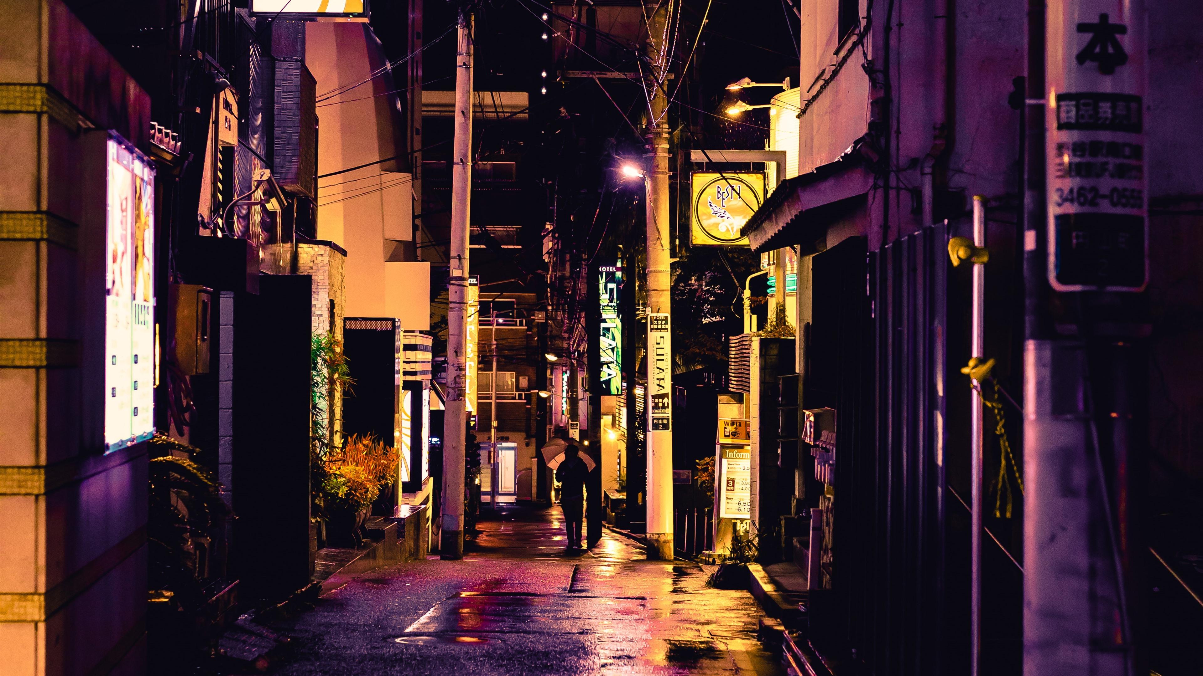 壁纸 街道,城市,胡同,夜晚,灯光,日本 3840x2160 Uhd 4k 高清壁纸 图片 照片