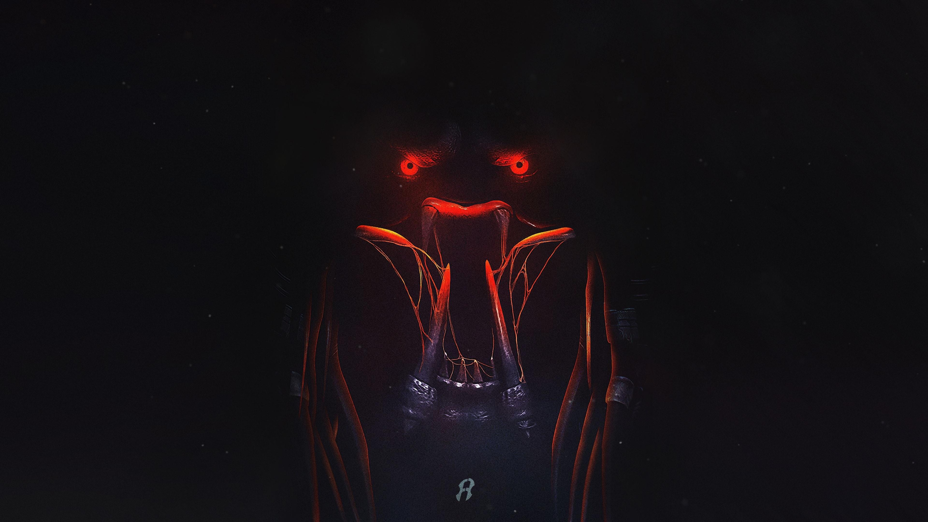 Wallpaper The Predator 2018 Teeth Red Eyes Darkness