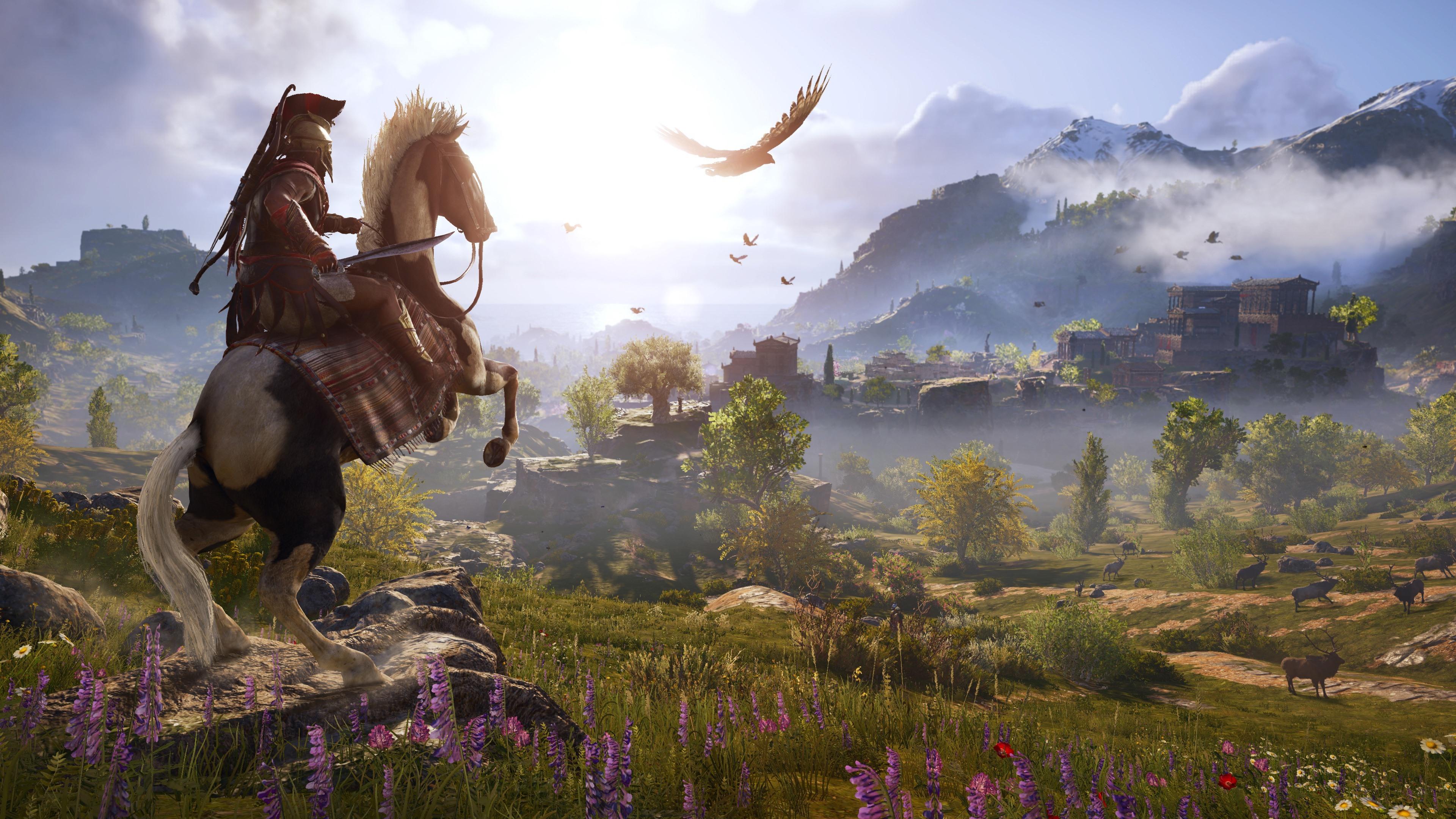 Wallpaper Assassin's Creed: Odyssey, Horse, Village