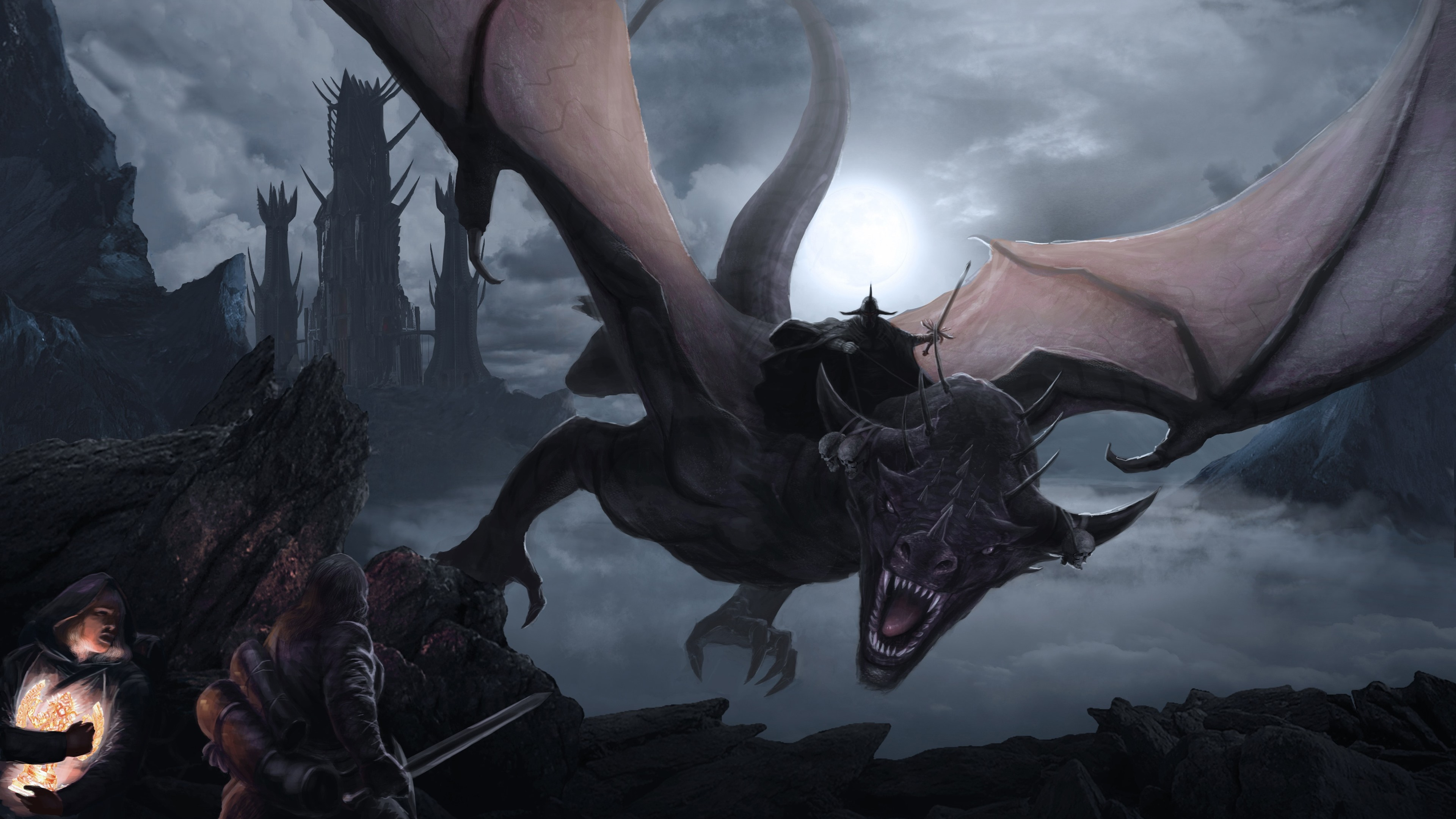 Wallpaper Lord Of The Rings Dragon Flight Art Picture 3840x2160
