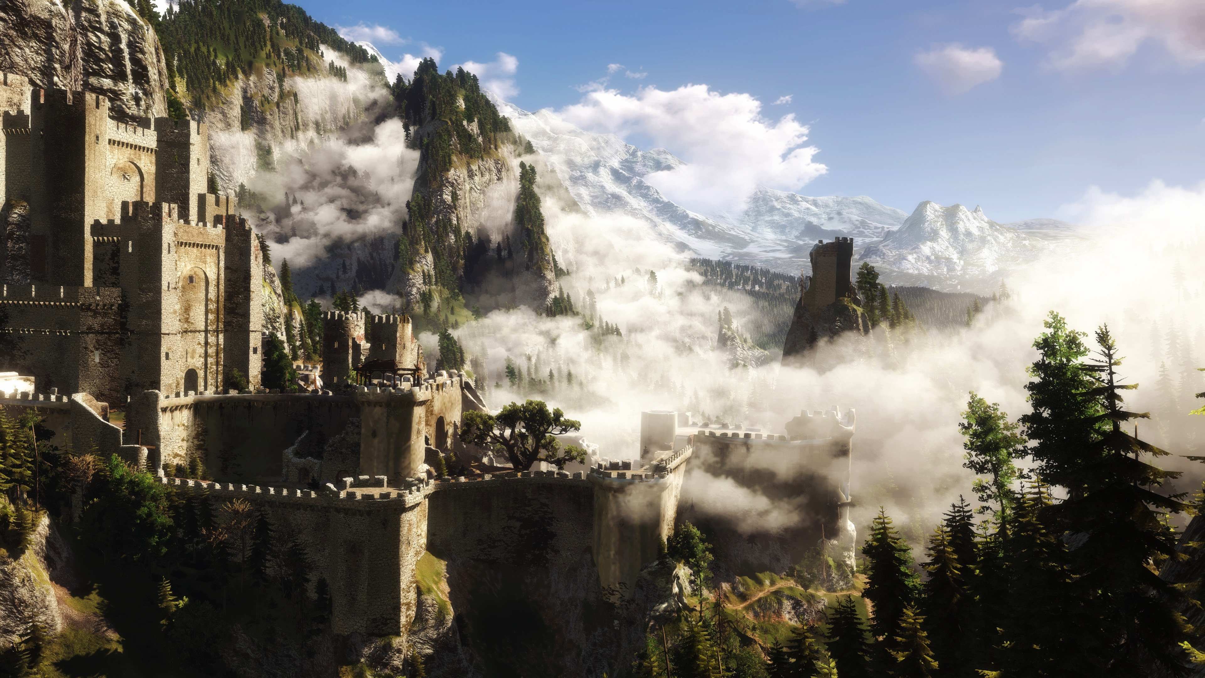 Wallpaper The Witcher 3 Castle Trees Forest Mountains
