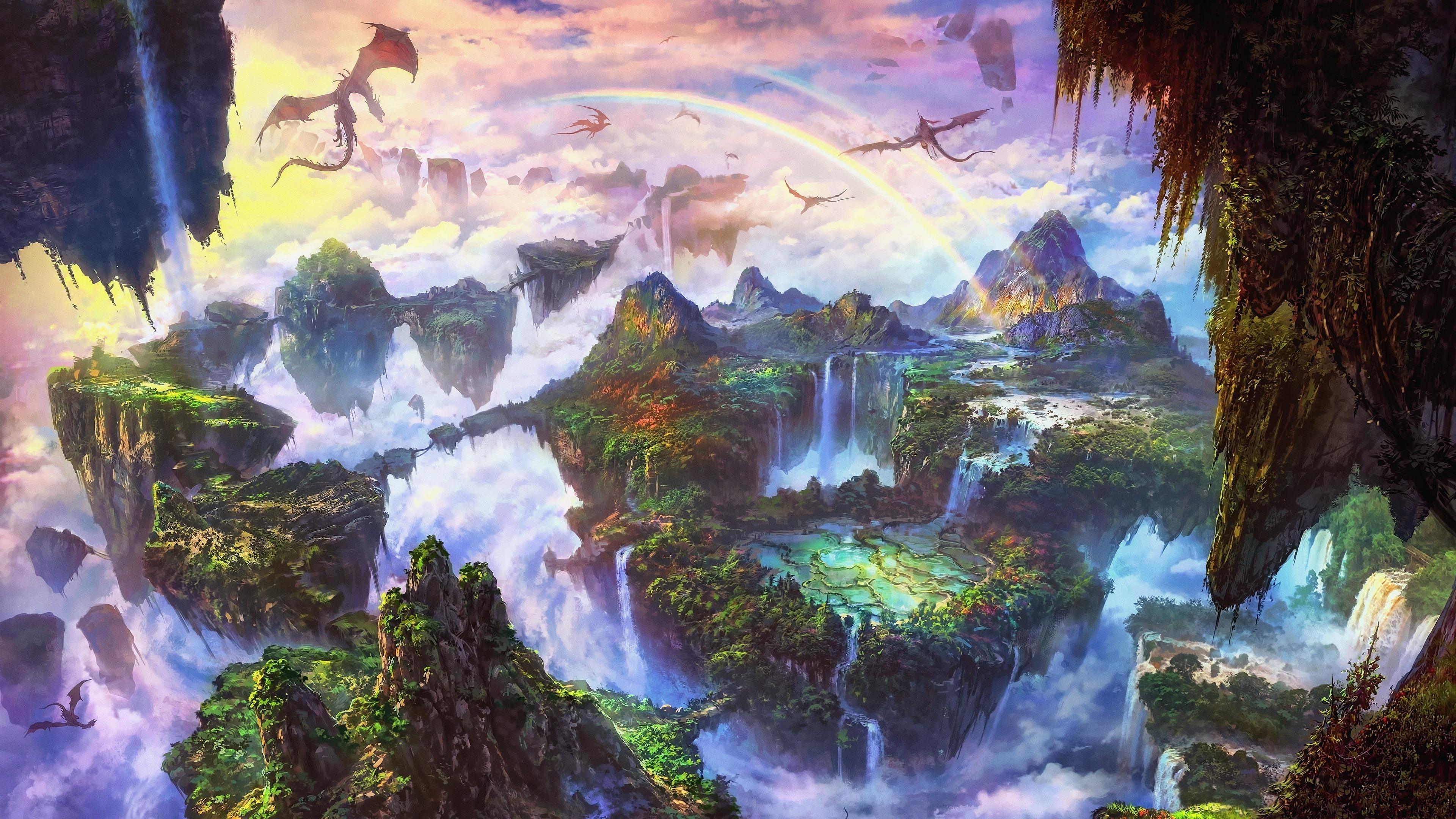 Wallpaper Beautiful Fantasy World Rainbow Dragon