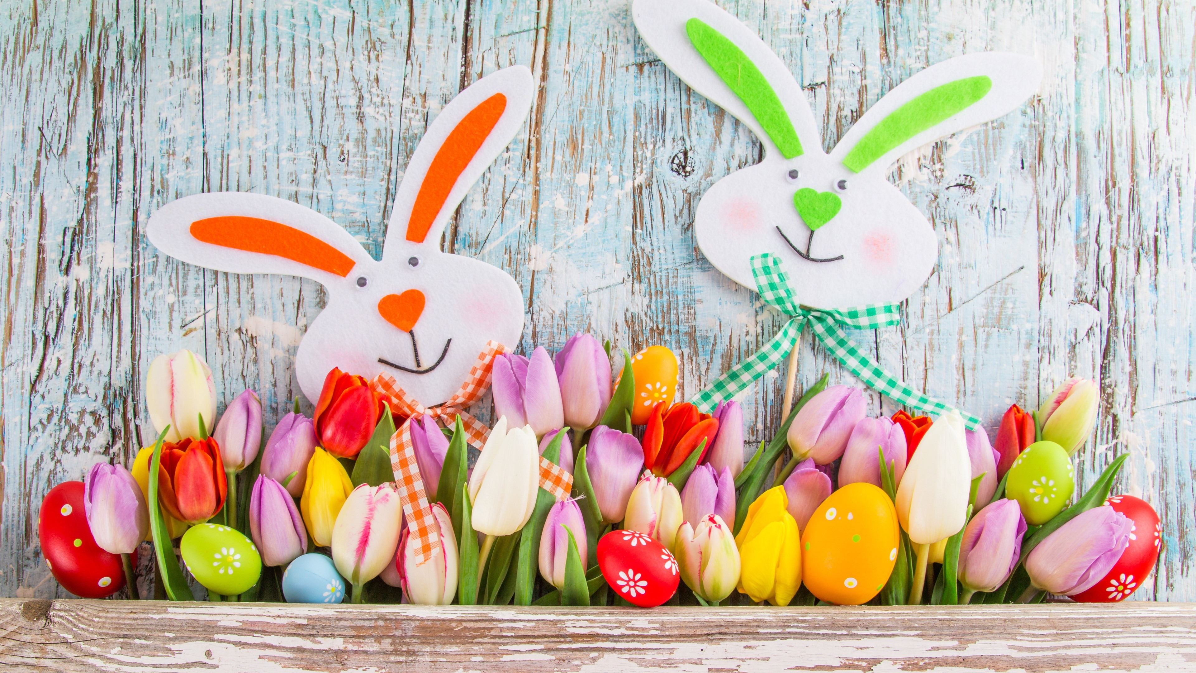 Wallpaper Happy Easter, tulips, colorful, eggs, rabbit 3840x2160 UHD 4K Picture, Image