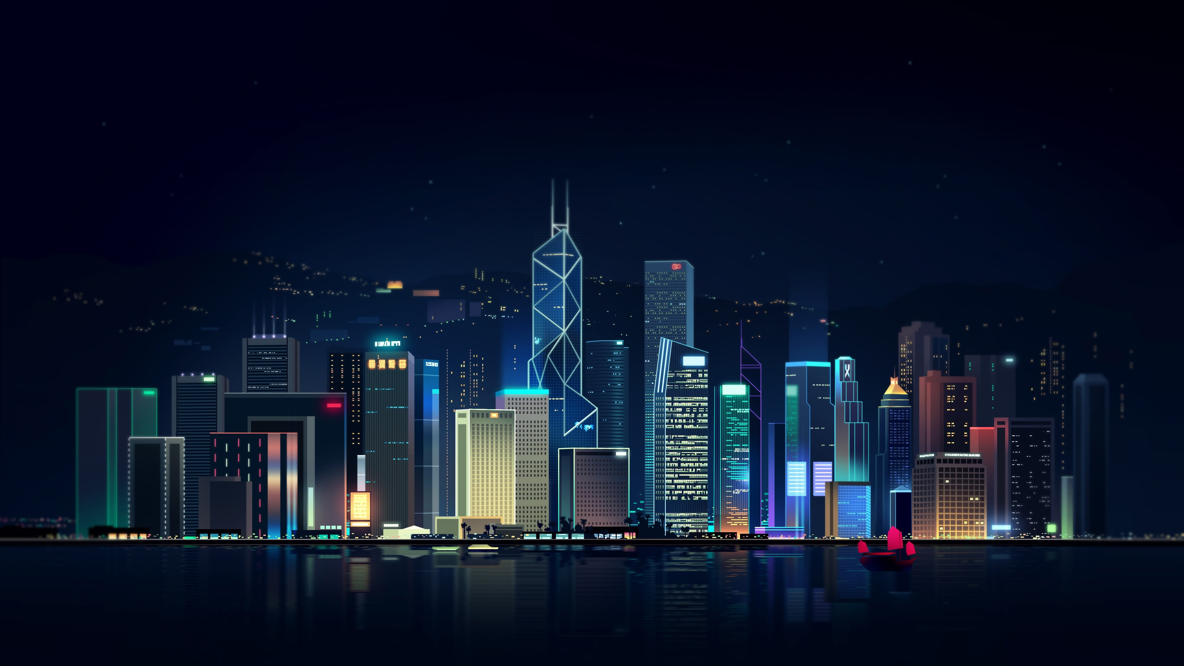 Wallpaper Hong Kong City Night Skyscrapers Art Picture