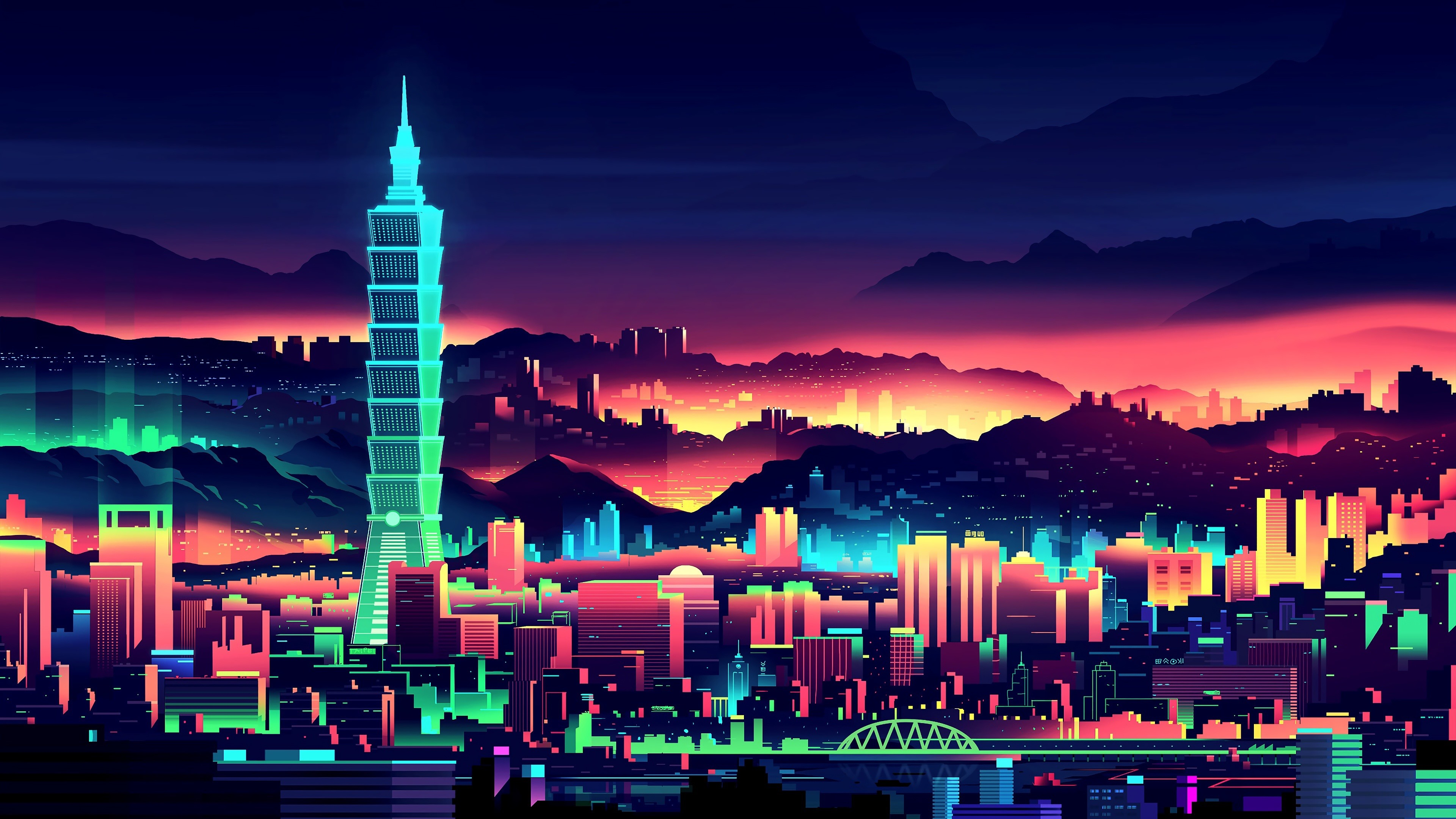 Wallpaper Vector picture, Taiwan, city