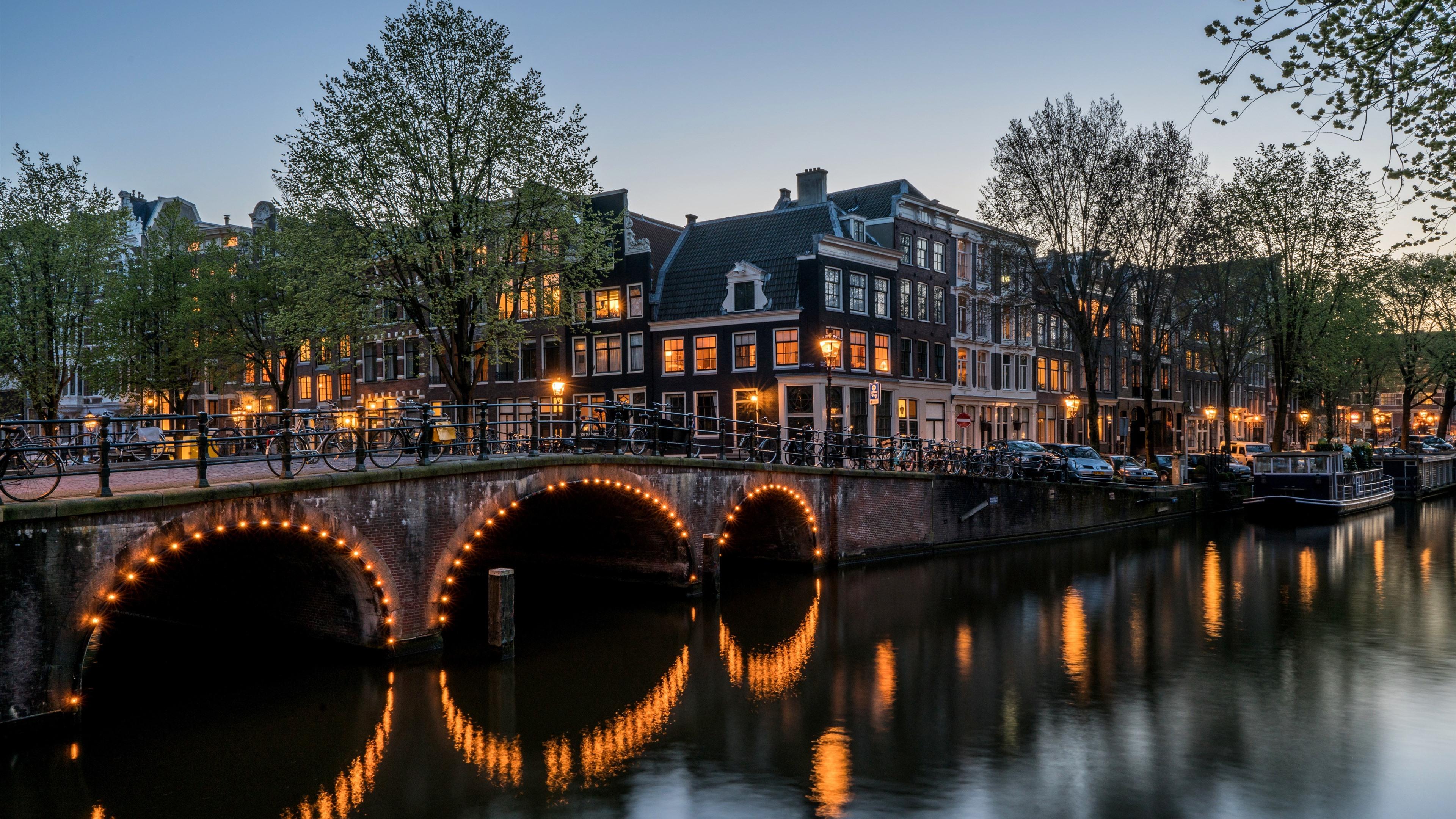 Wallpaper Amsterdam Night City River Bridge Houses