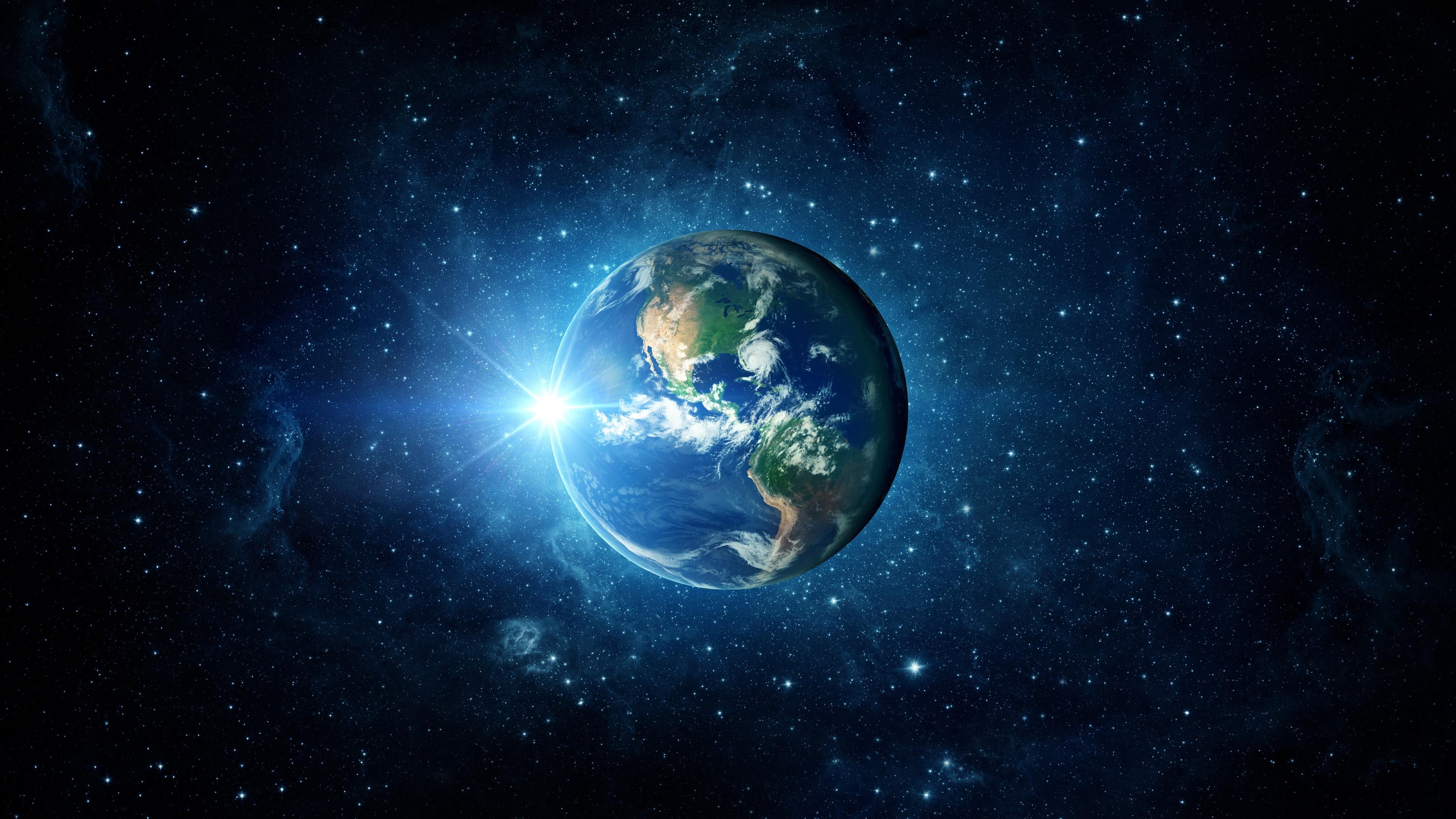 Beautiful Earth blue planet sun stars
