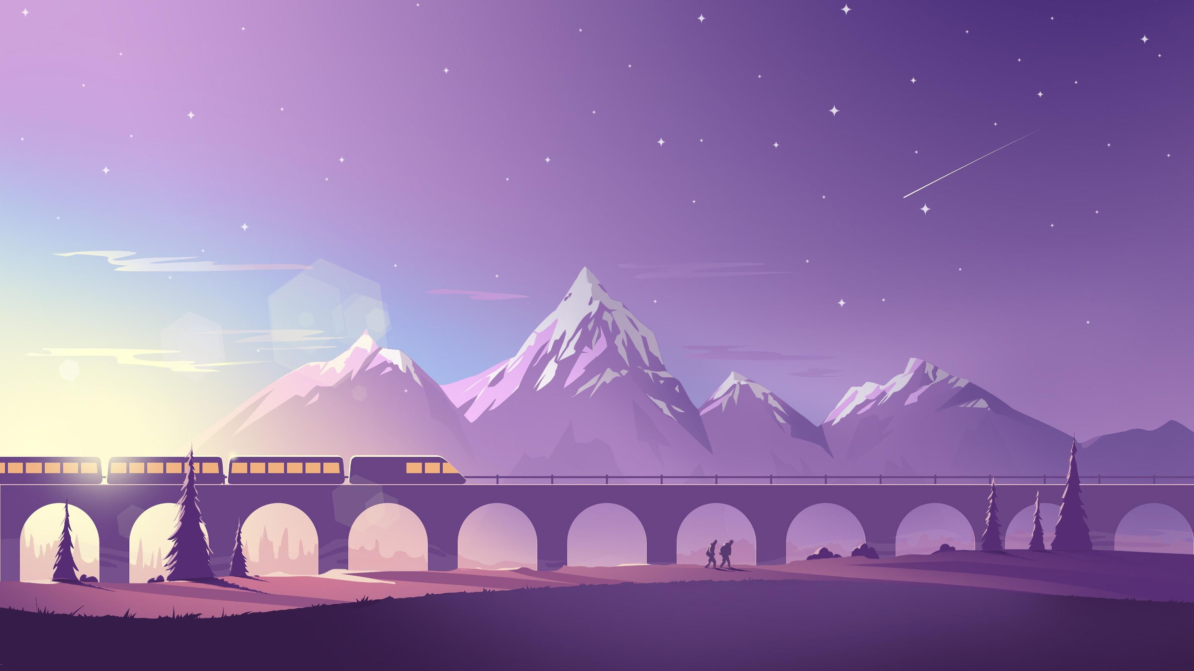 Wallpaper Bridge Train Mountains Vector Art Picture 3840x2160 Uhd 4k Picture Image