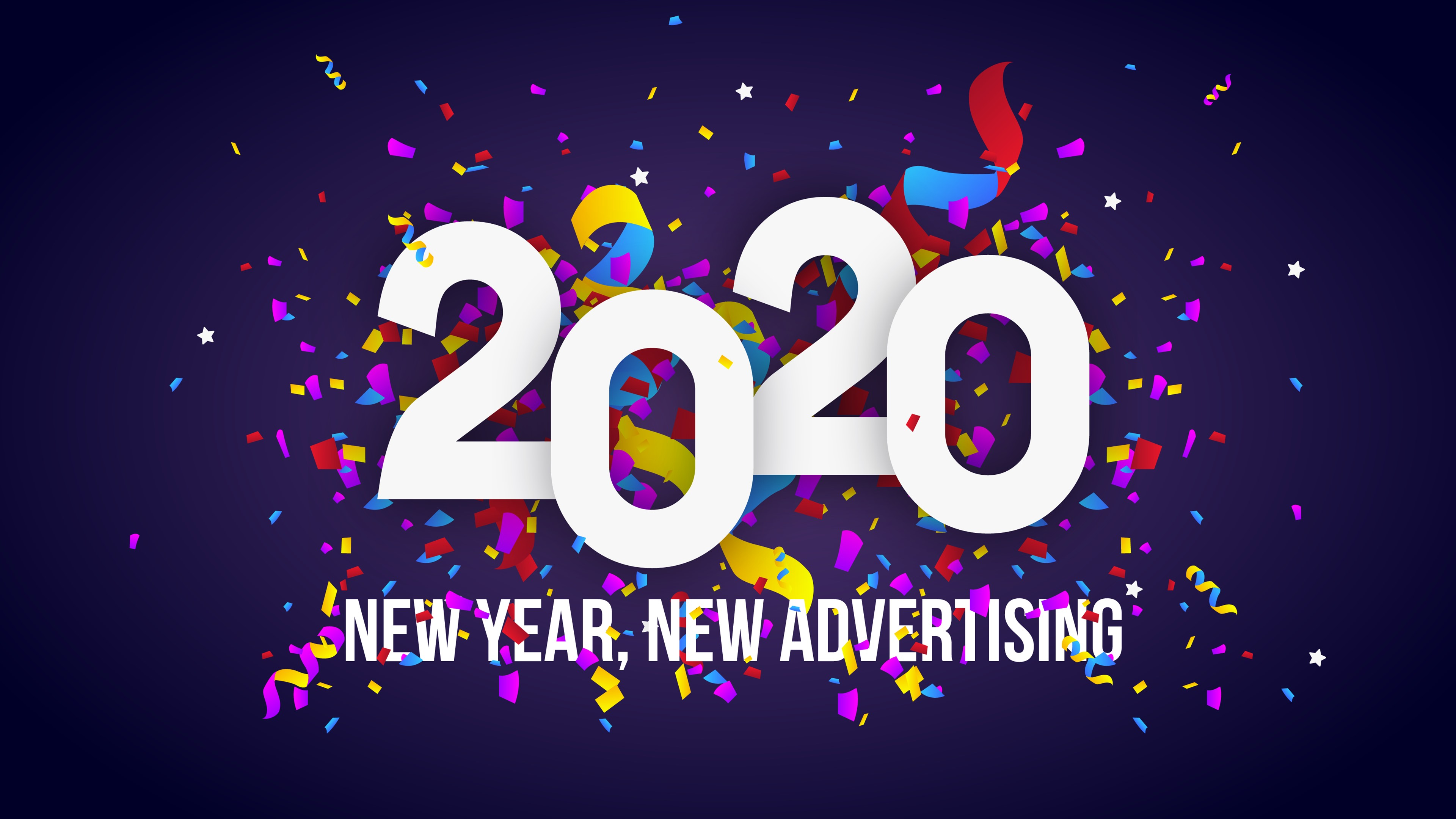 Wallpaper Happy New Year 2020 Congratulation Colorful 3840x2160 Uhd 4k Picture Image