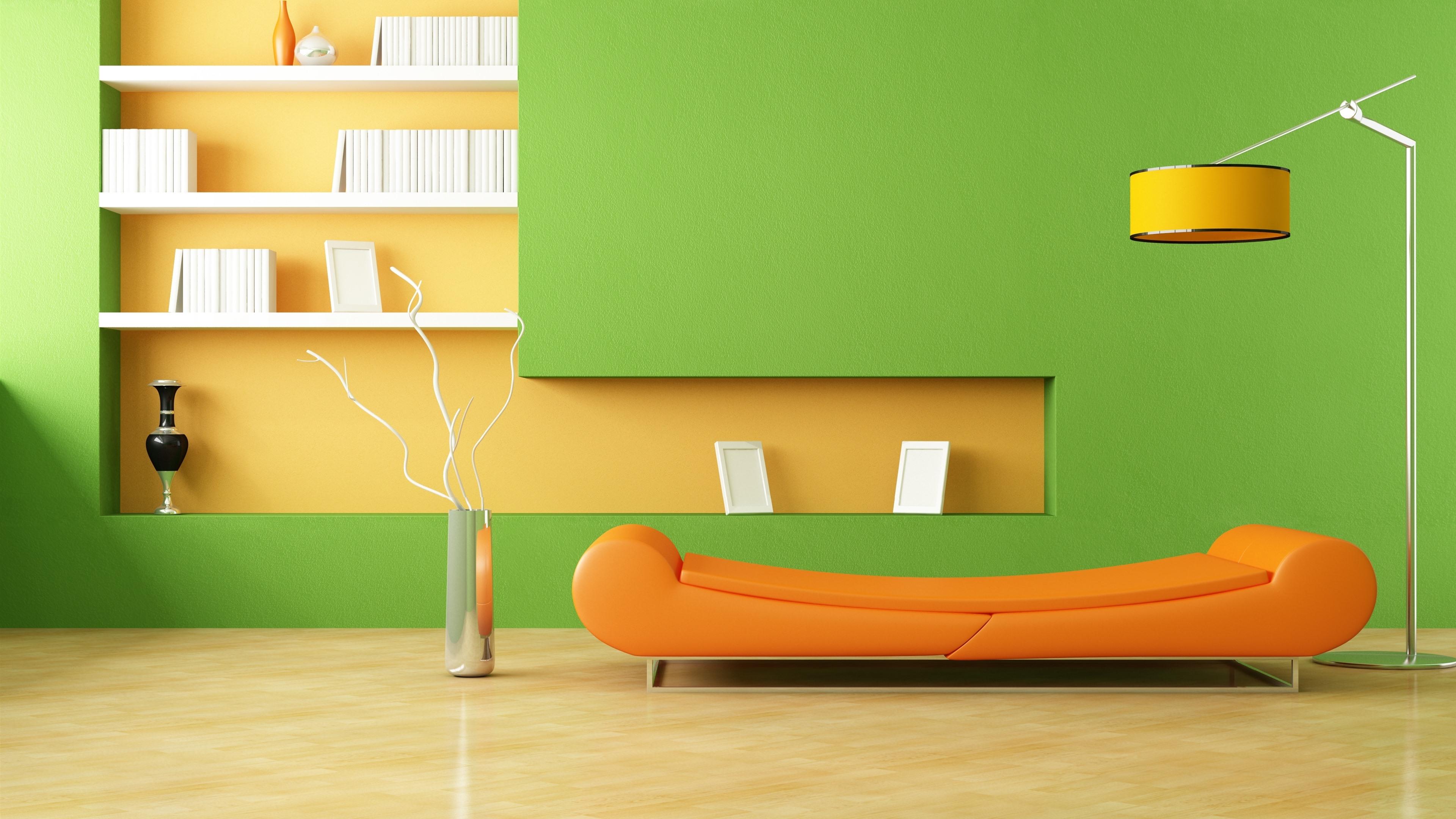 Wallpaper Minimalist room, sofa, lamp, orange and green ...