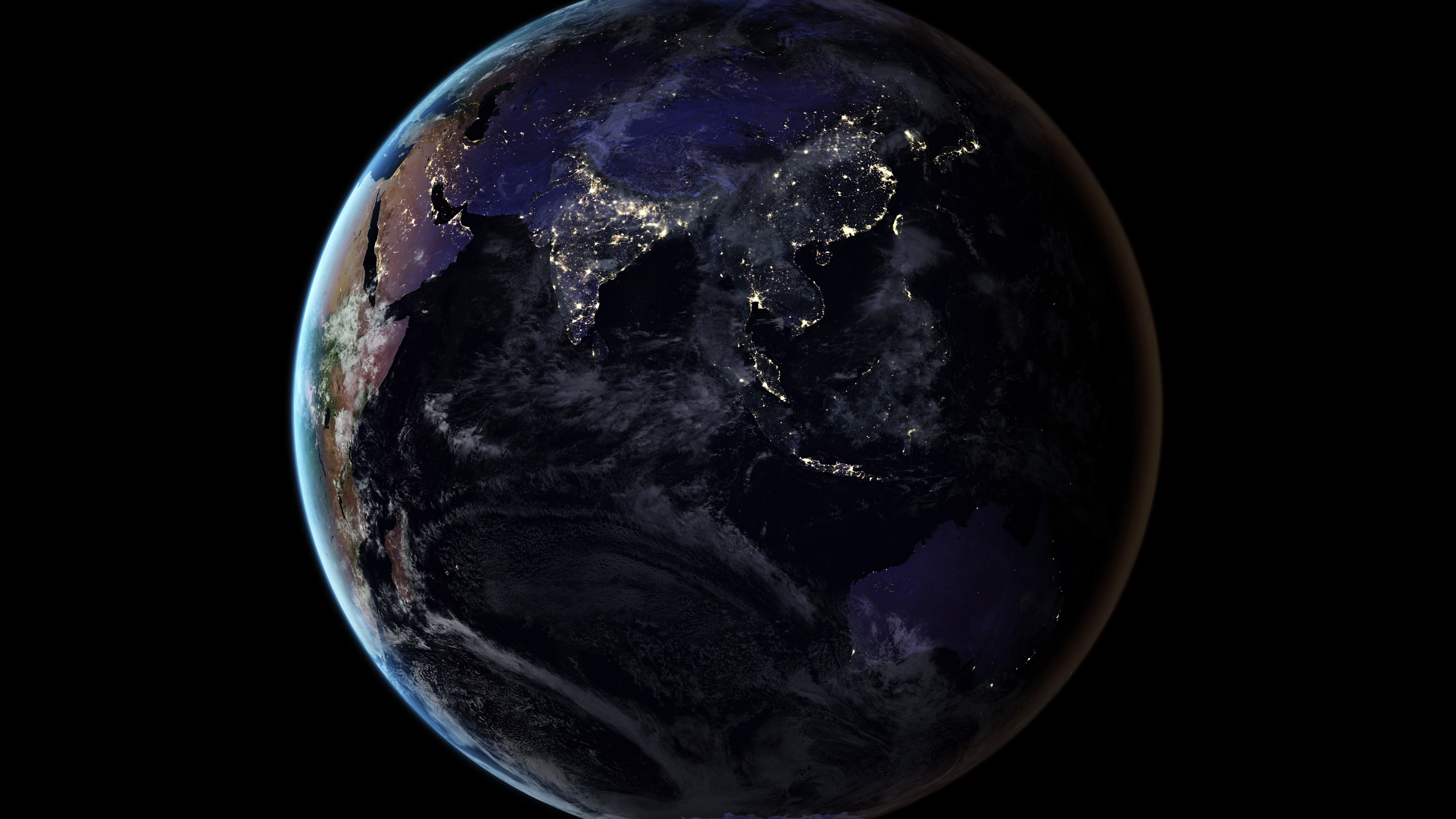 Fonds D écran Terre Lumière Fond Noir Espace 5120x2880