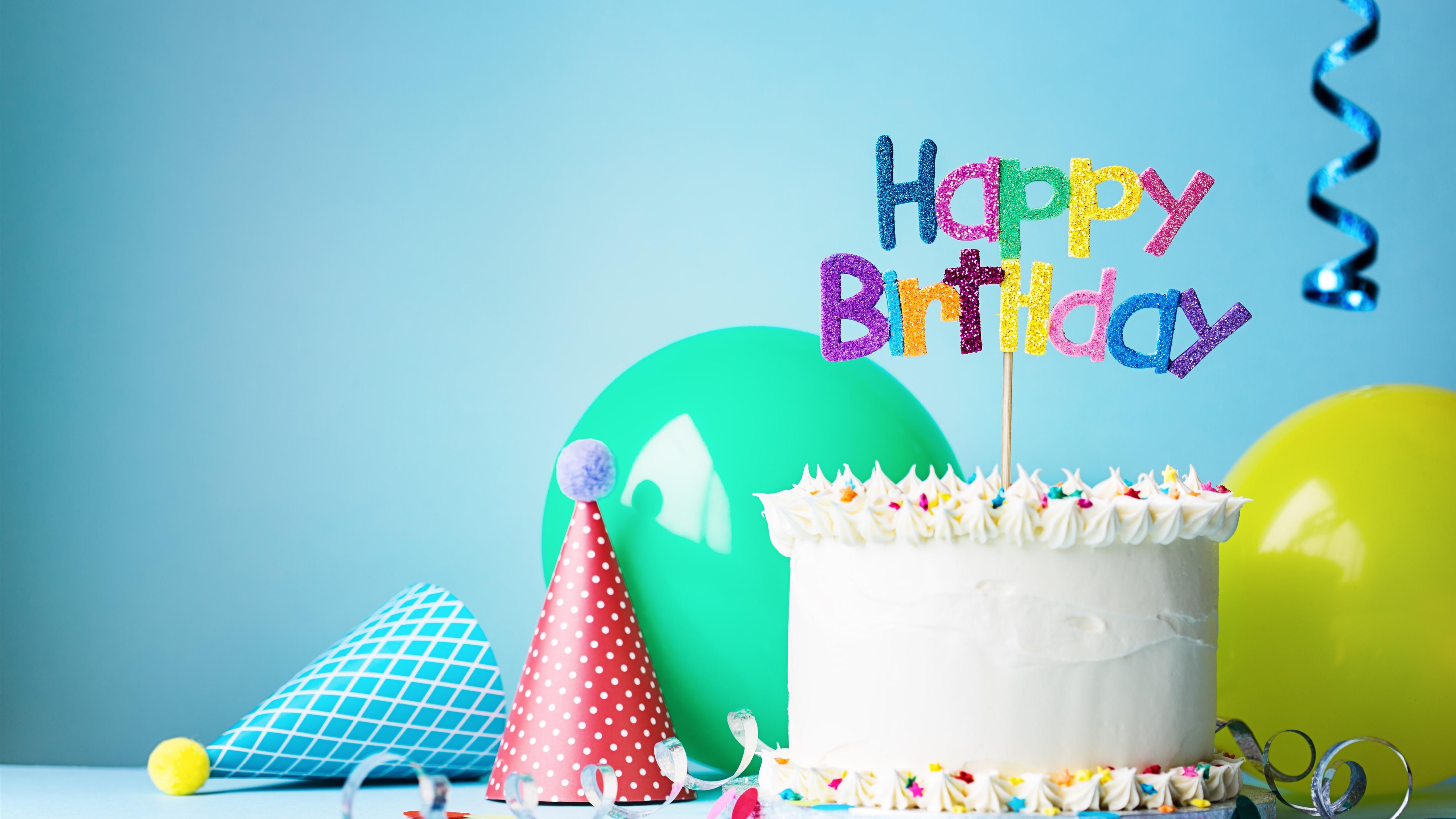 Remarkable Wallpaper Happy Birthday Cake Hat Balloon Ribbon 5120X2880 Uhd Funny Birthday Cards Online Aboleapandamsfinfo