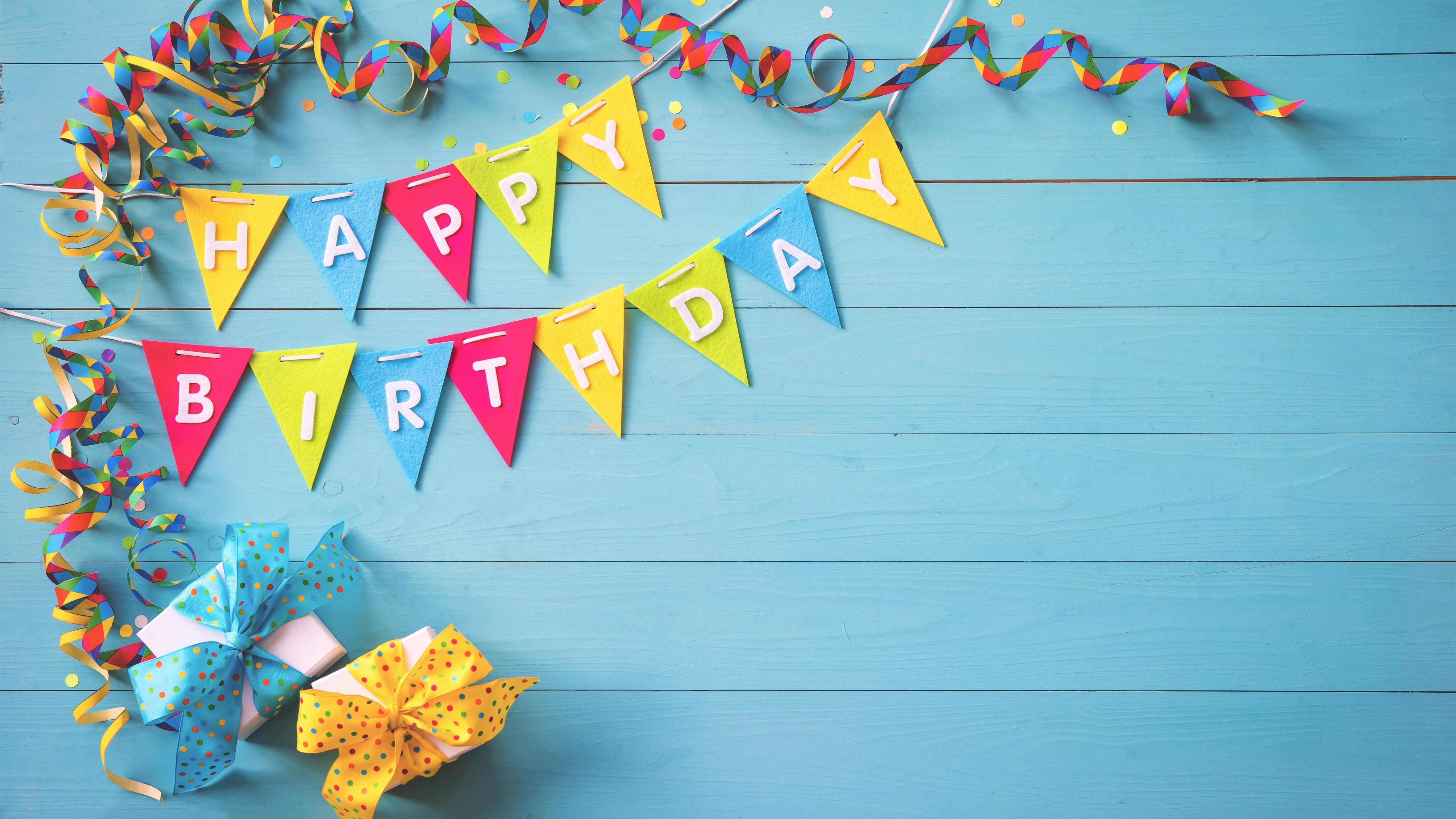 Feliz cumplea os coloridas banderas regalos cintas - Happy birthday wallpaper hd with name ...