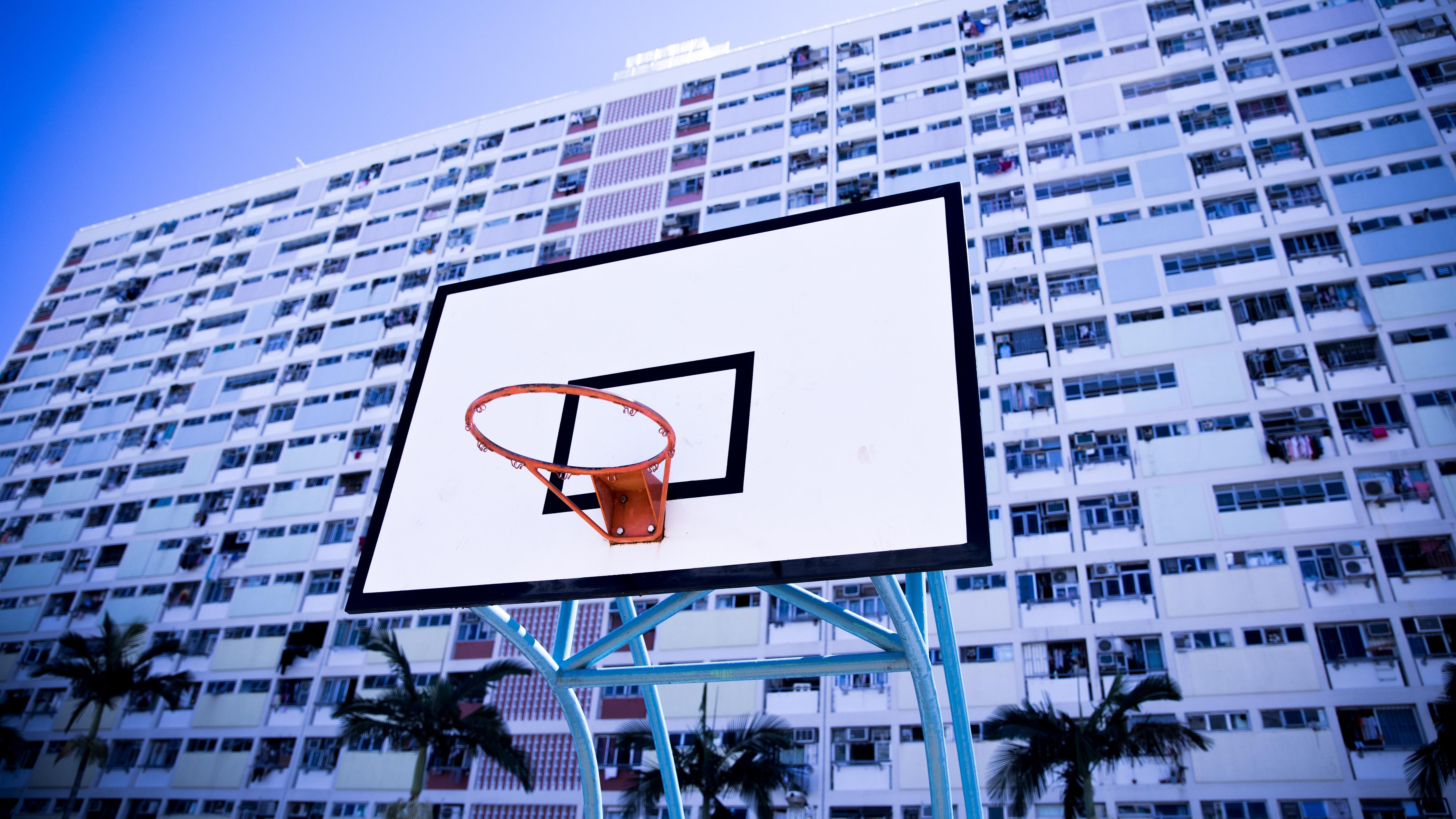 Wallpaper Basketball Net Board Buildings 5120x2880 Uhd 5k