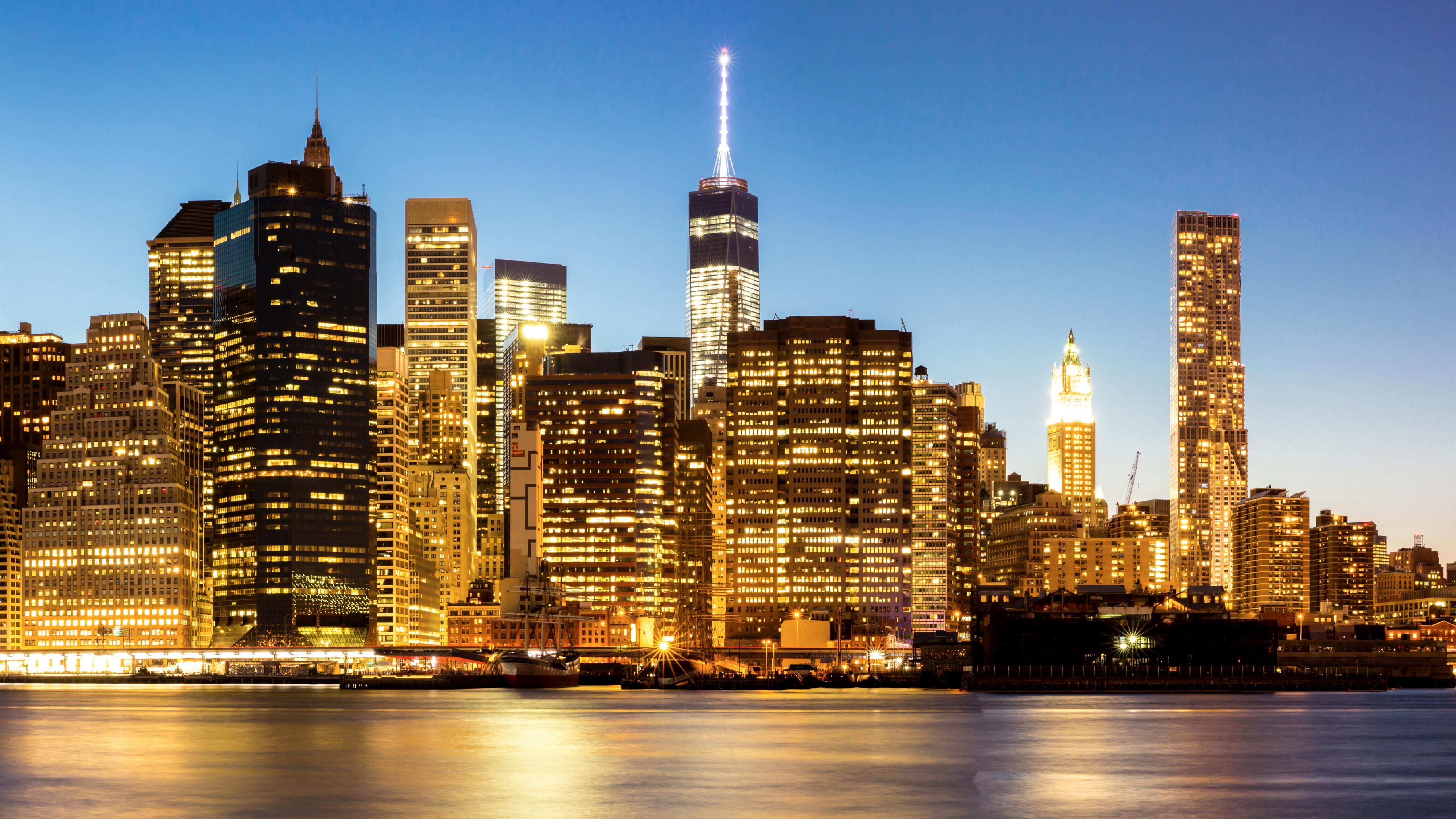 Обои тучи, небоскребы, manhattan, здания, skyline, new york city, освещение. Города foto 7