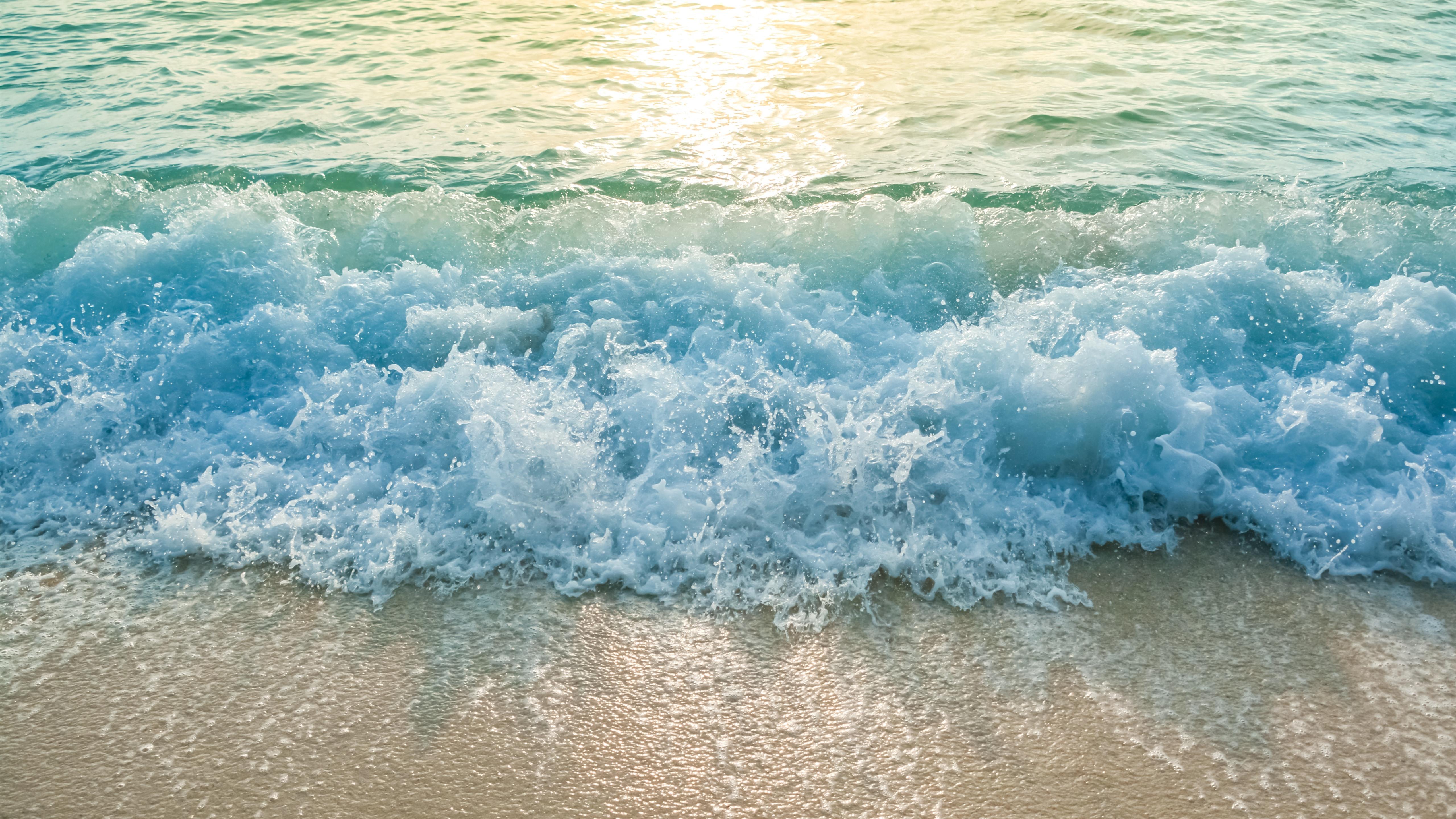 Wallpaper Beach Sea Waves Water Splash Foam 5120x2880