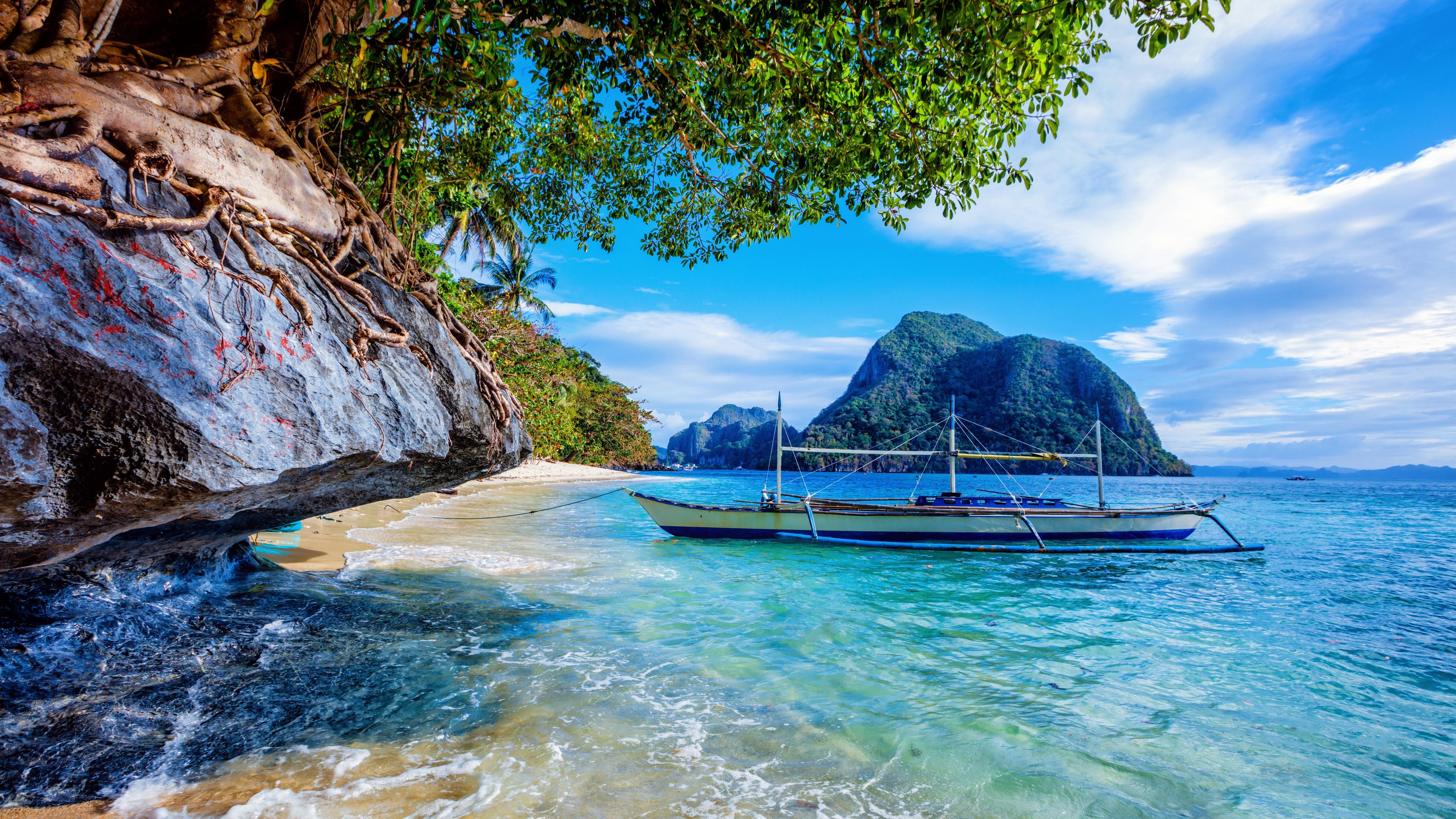 Wallpaper Philippines Beach Sea Boat Trees 5120x2880 Uhd