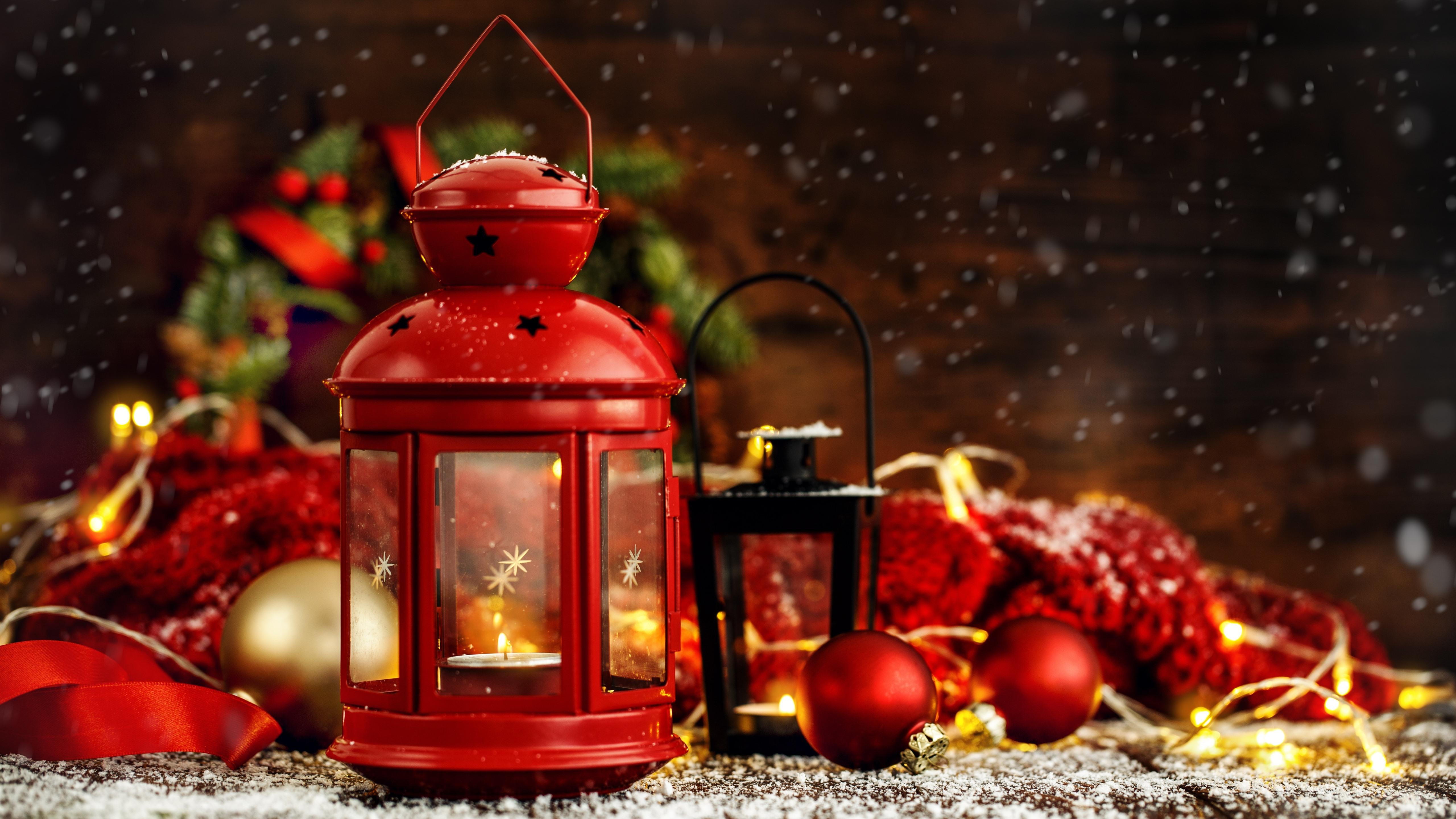 Wallpaper Red Lantern Christmas Balls Decoration 5120x2880