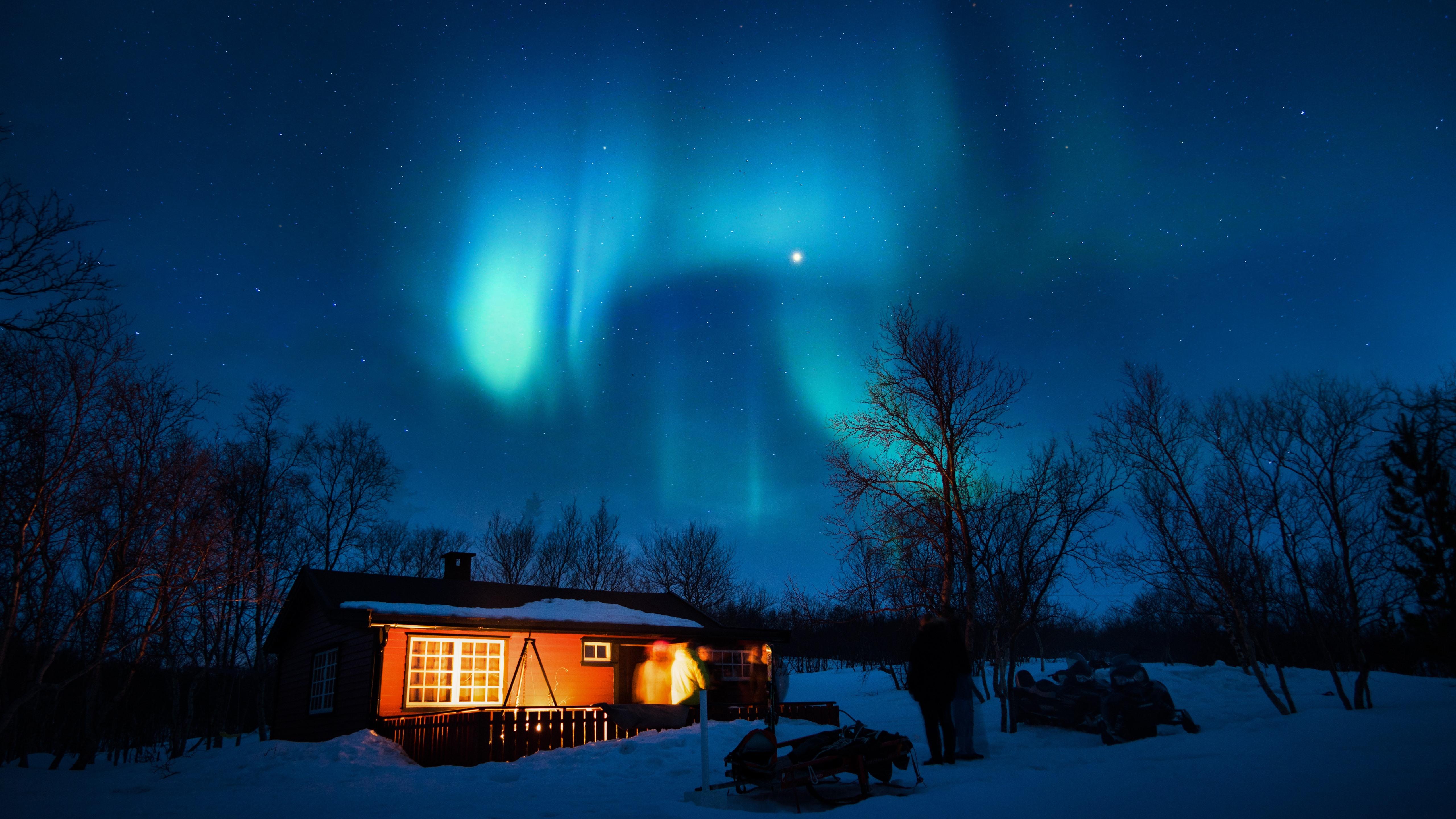 Wallpaper Aurora Borealis Starry House Trees Snow Night