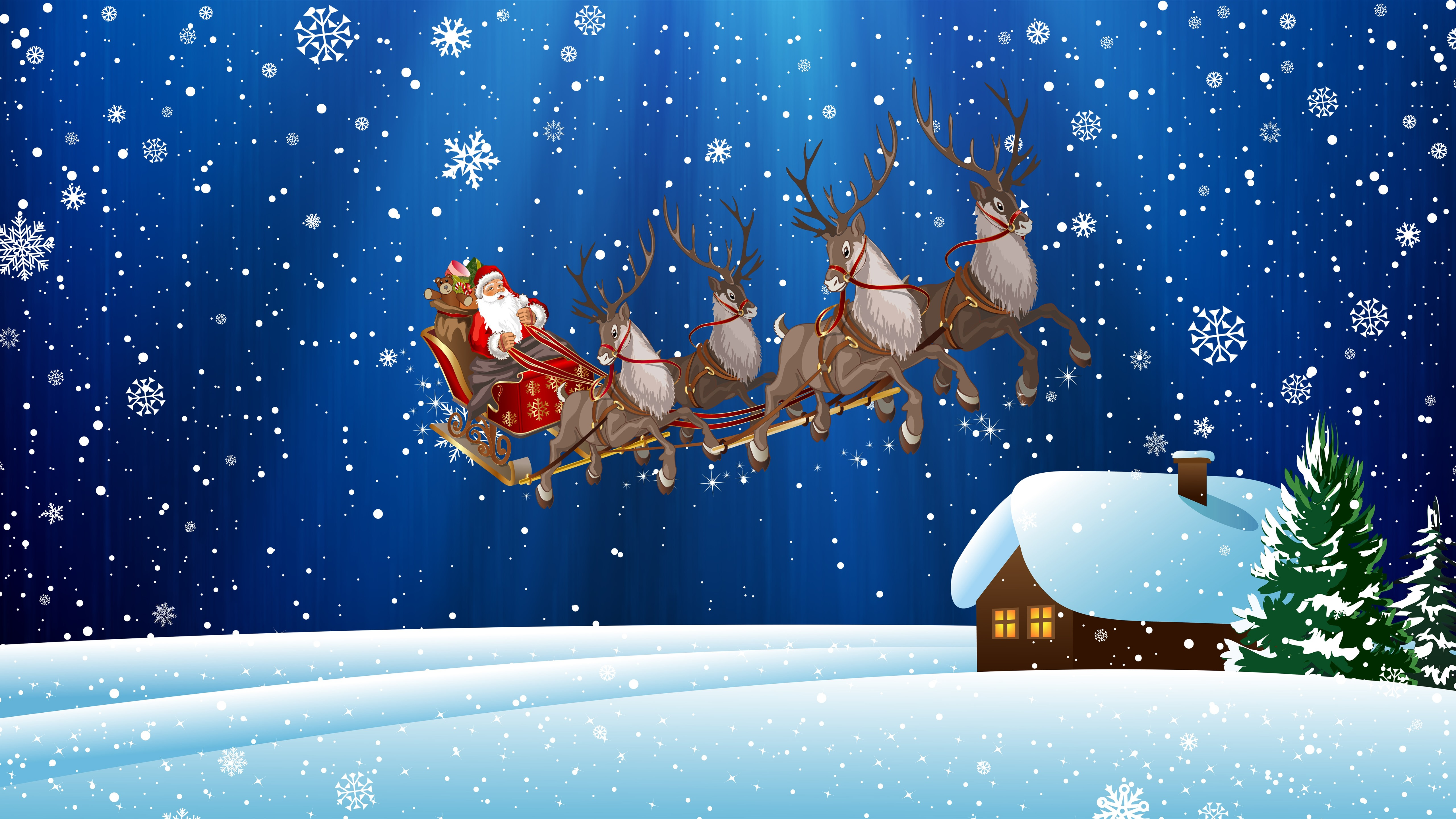 Wallpaper Christmas Santa Claus Snowflakes Snow Deer