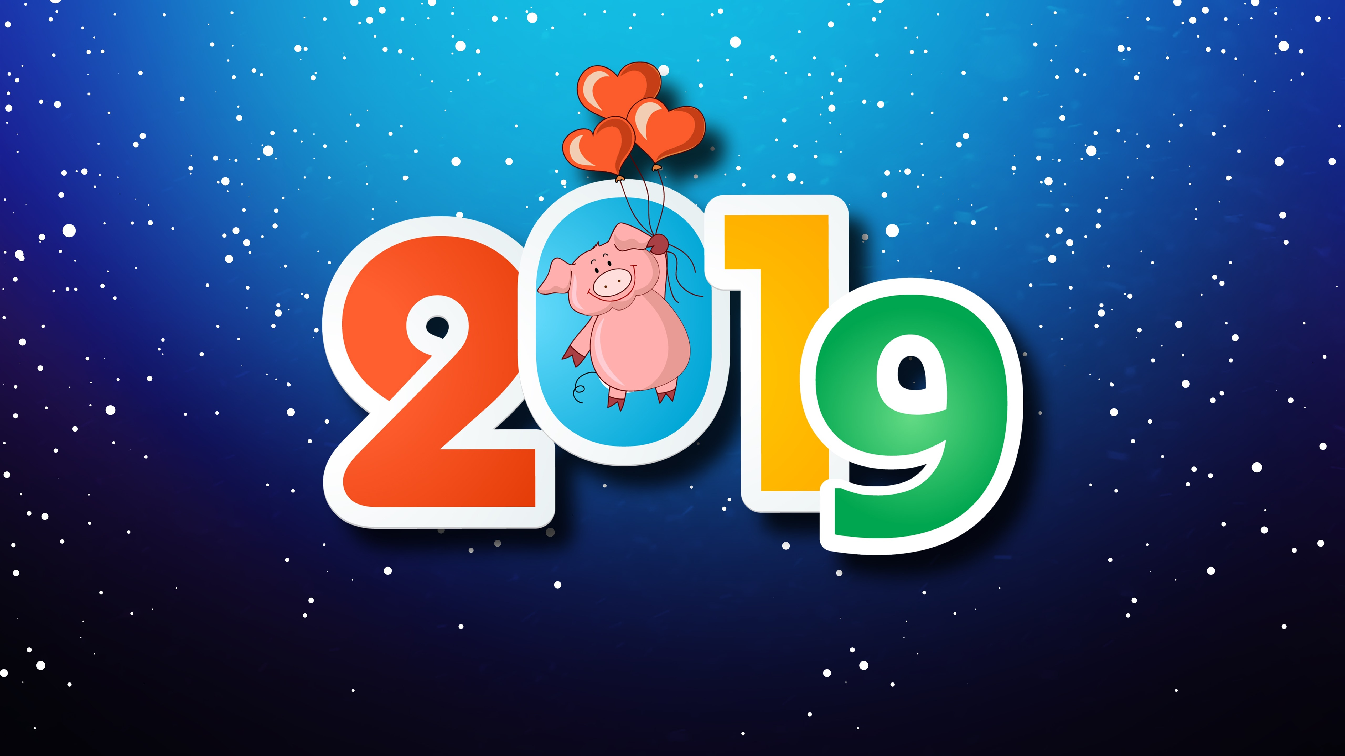 Wallpaper Happy New Year 2019, pig, love hearts, snowflakes