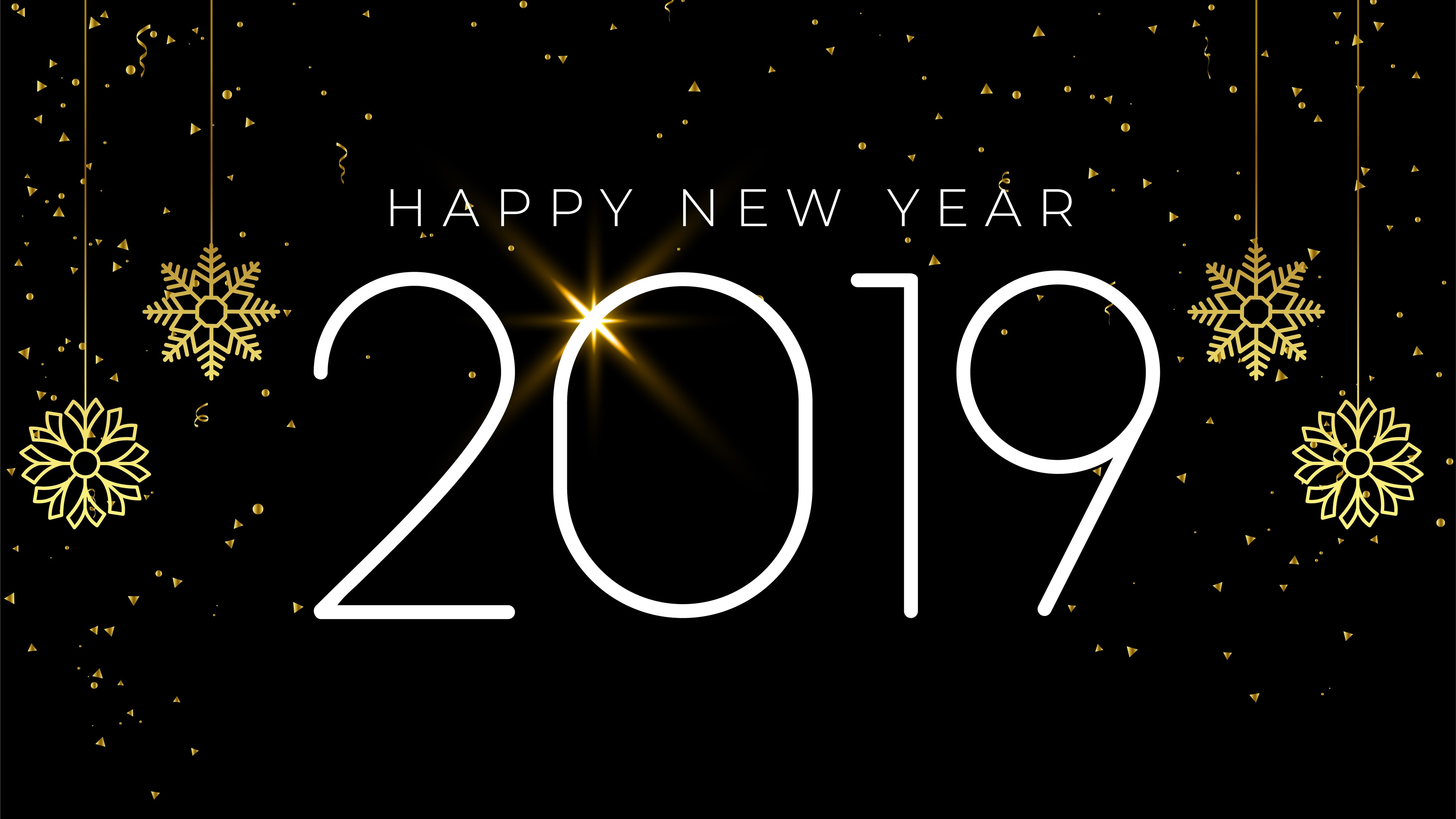 Wallpaper Happy New Year 2019, snowflakes, simple style 5120x2880