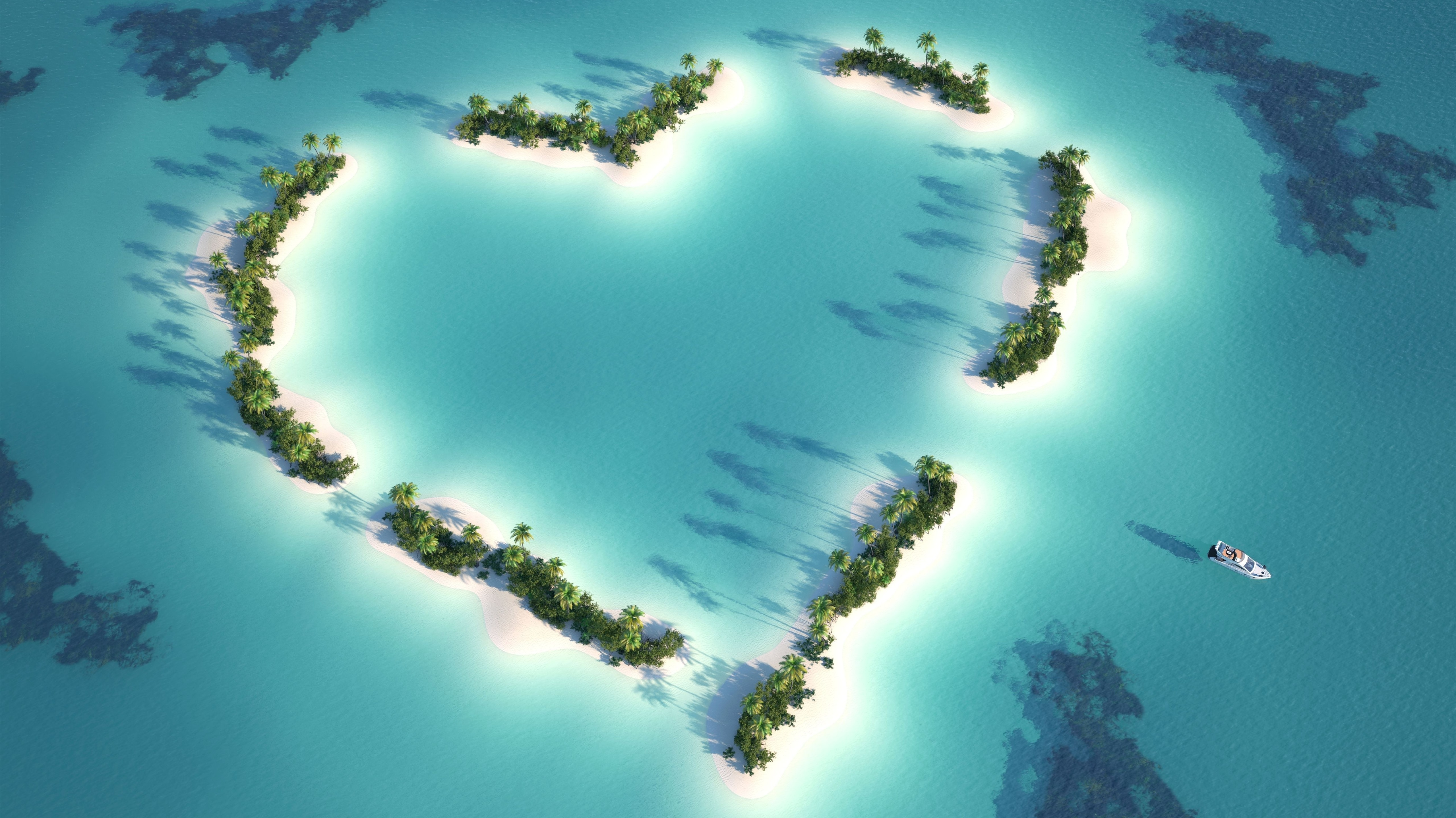 Wallpaper Love Heart Beach Sea Palm Trees Boat Top View