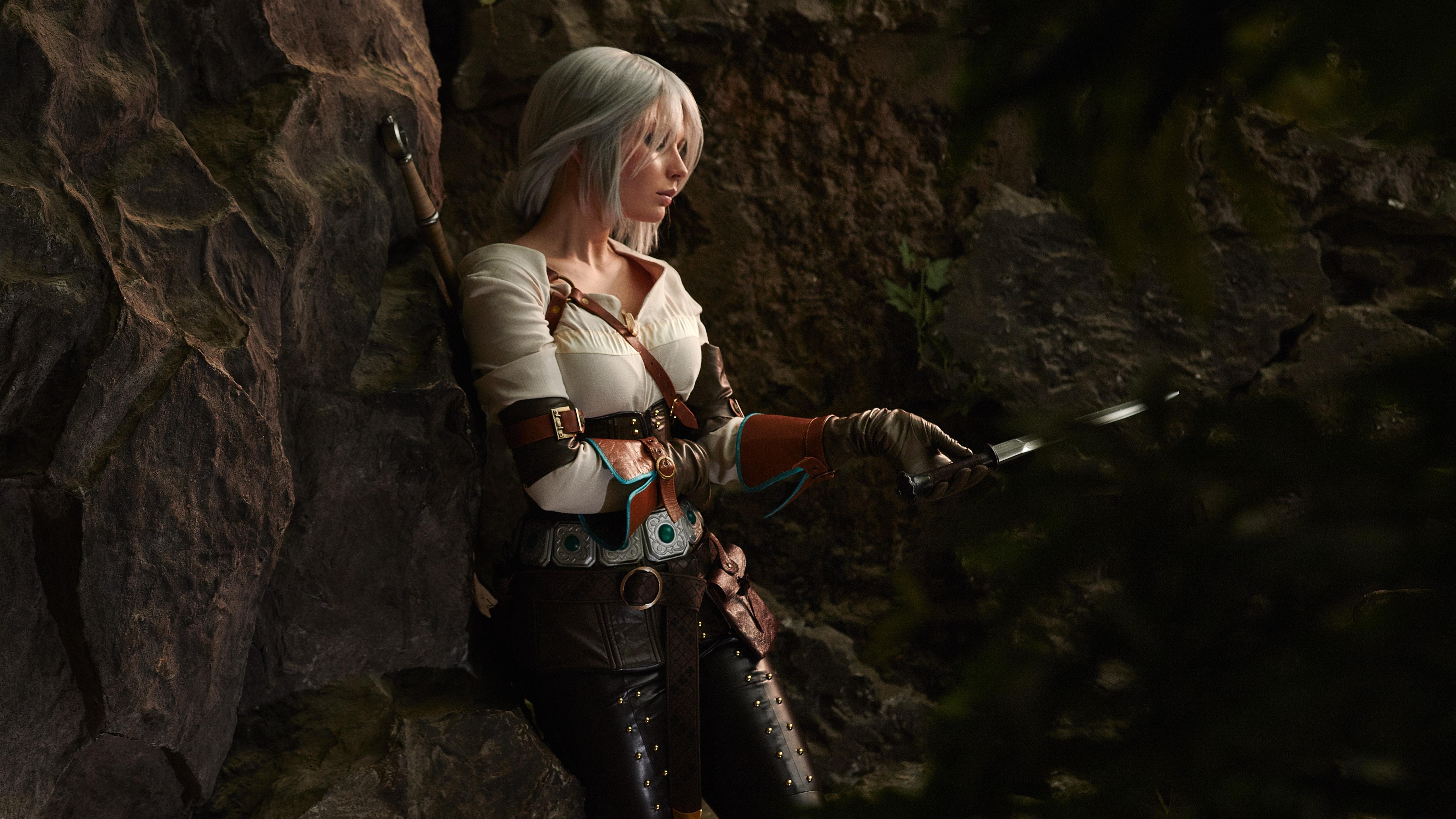 Wallpaper Cosplay Girl Sword The Witcher 3 Wild Hunt 5120x2880