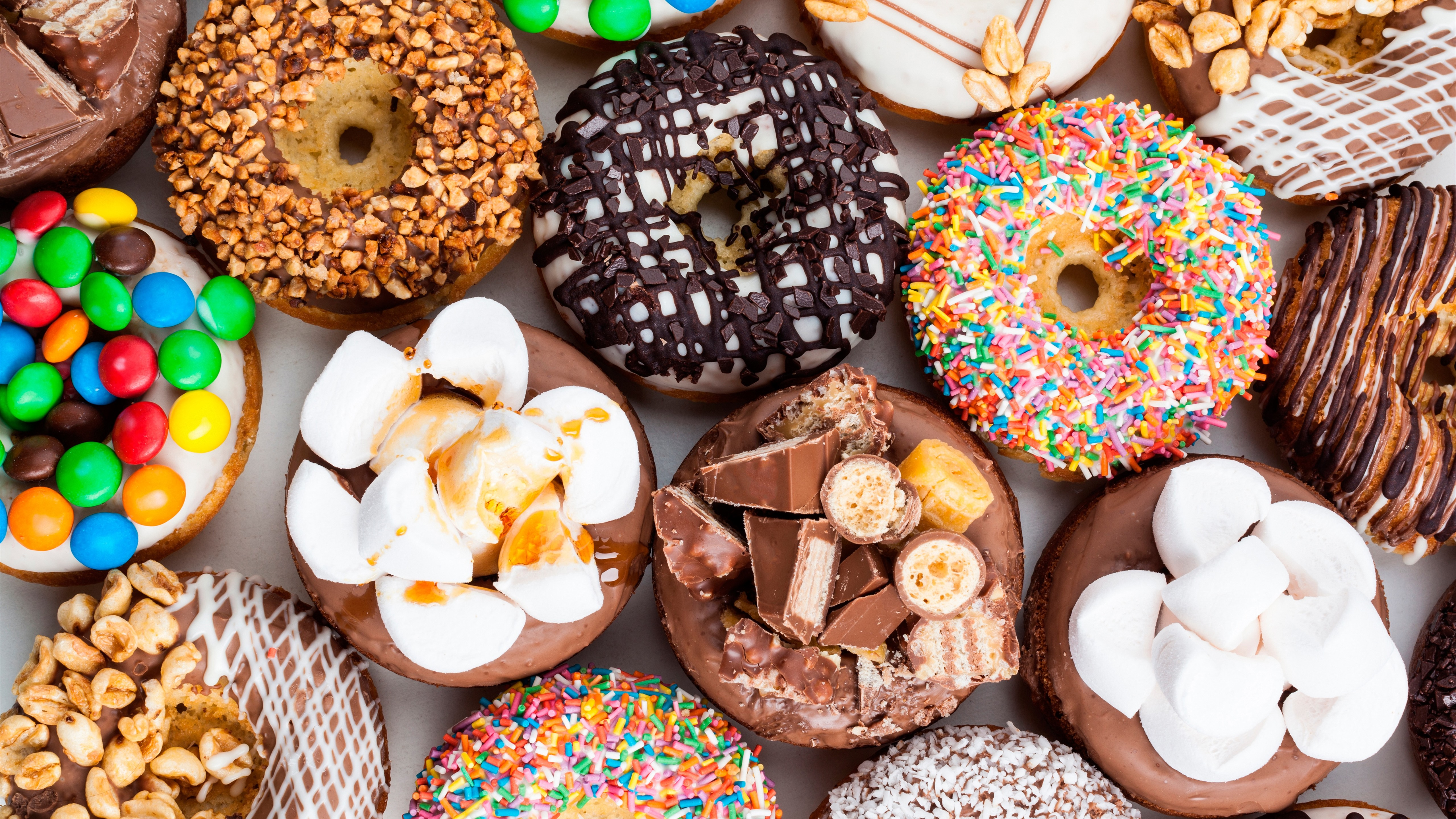 Wallpaper Delicious dessert, donuts, colorful 5120x2880 ...