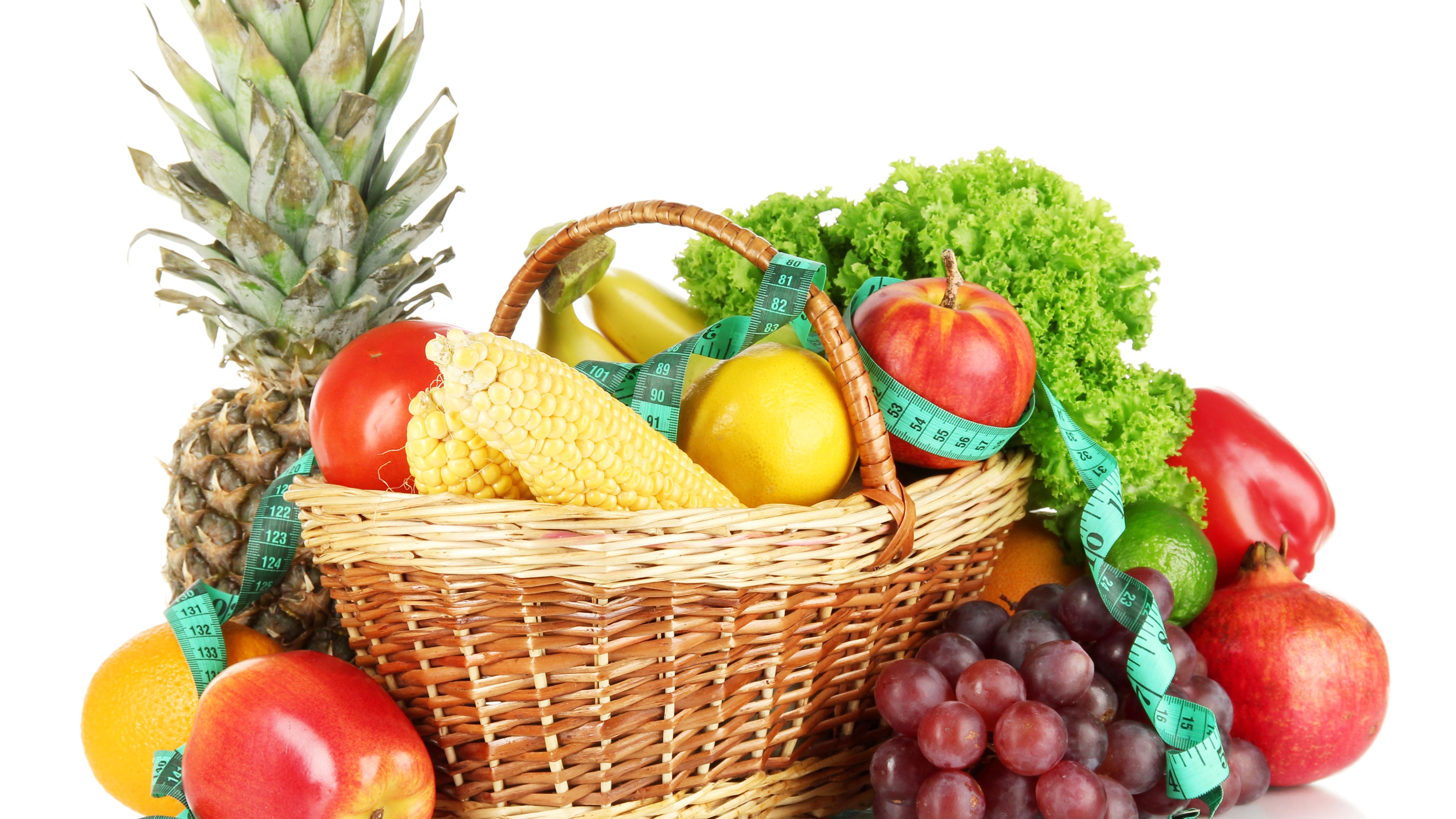 Wallpaper Fruit And Vegetables, Corn, Apples, Lemon