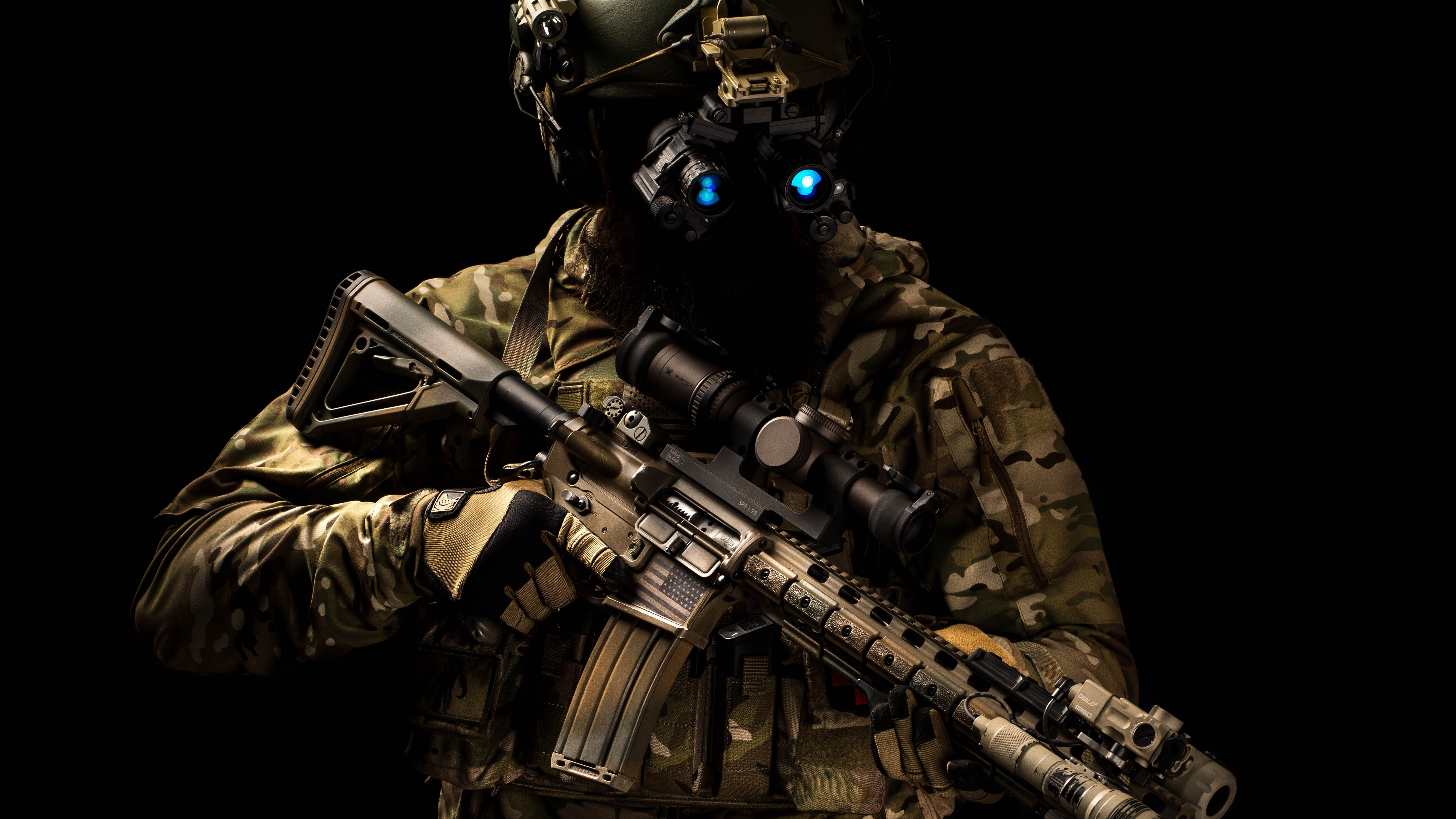 Special Forces Helmet Assault Rifle 1242x2688 Iphone 11 Pro Xs