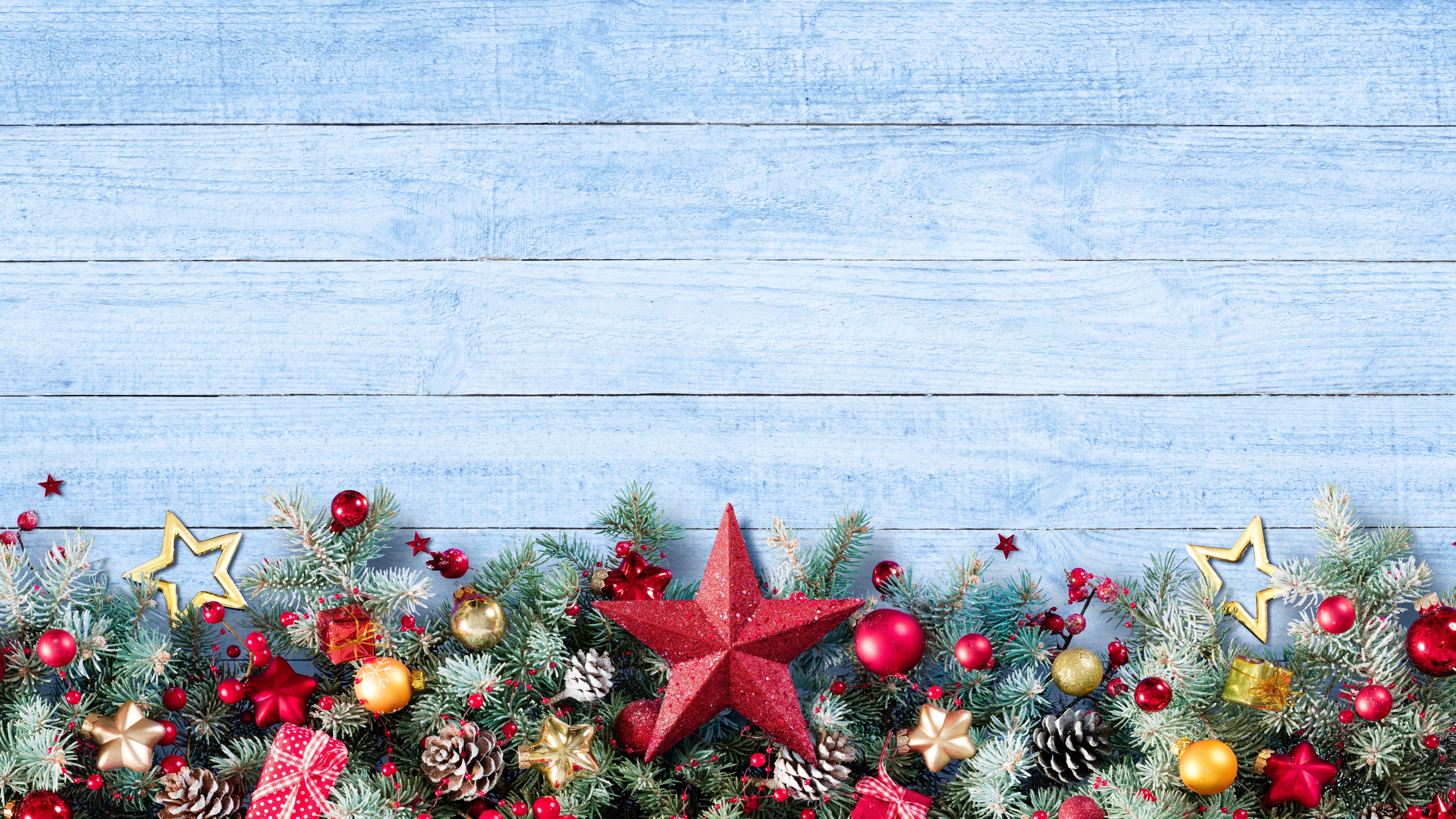 Hintergrundbilder Frohe Weihnachten.Frohe Weihnachten Sterne Balle Dekoration 7680x4320 Uhd