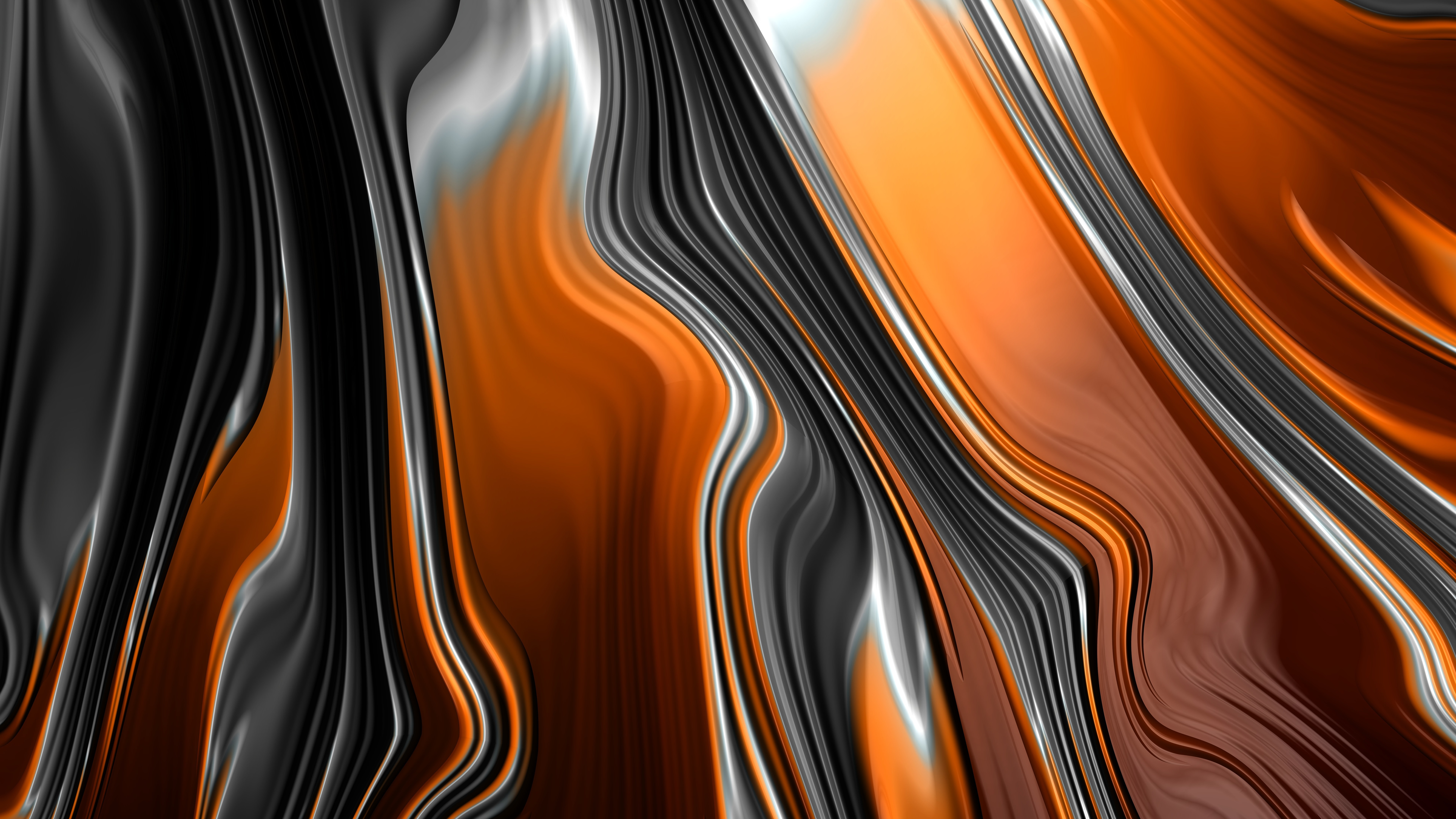 Abstract Fractal Graphics Orange And Black 1242x2688 Iphone