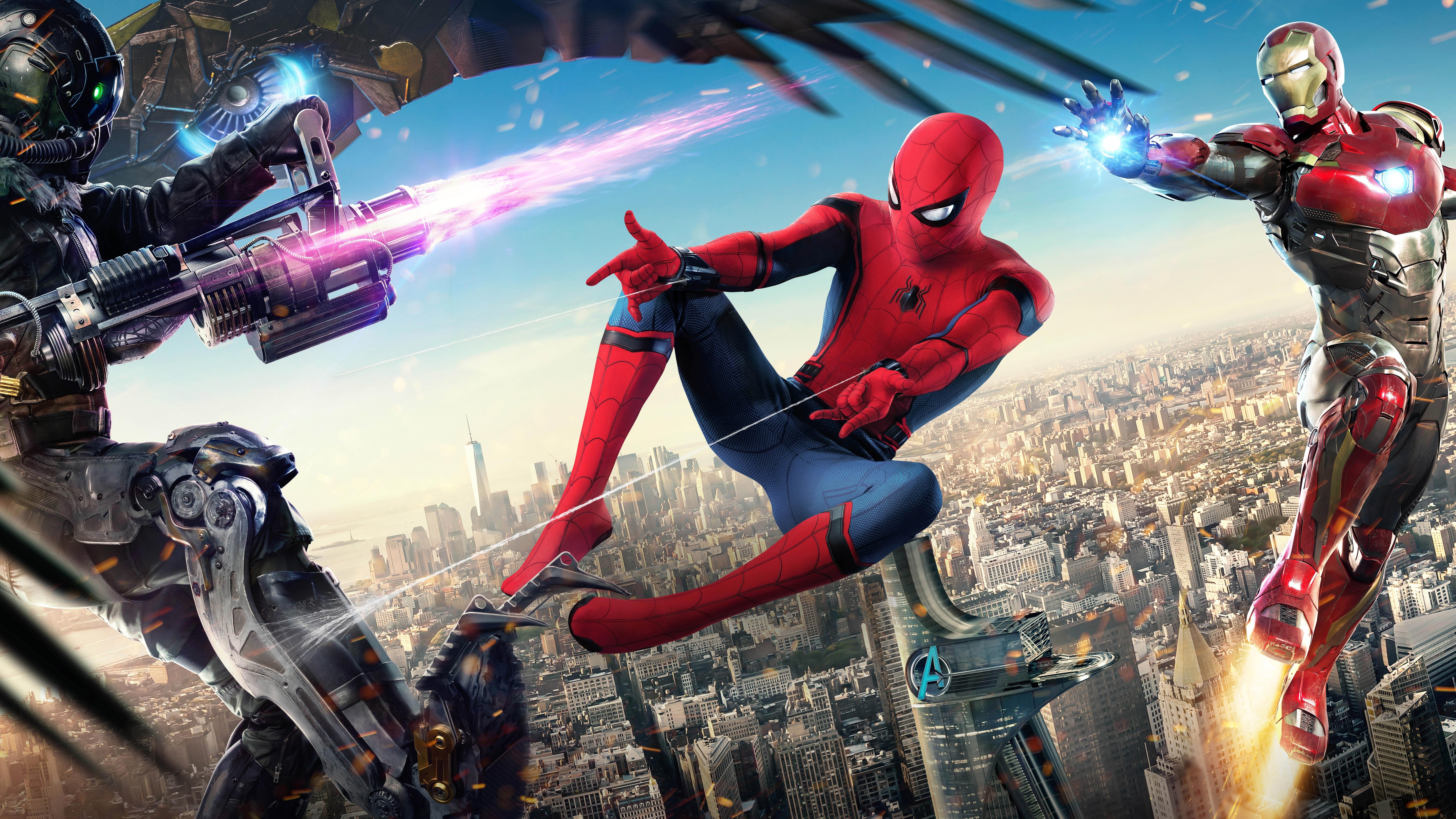 壁紙 スパイダーマン ホームカミング アイアンマン マーベルスーパーヒーロー 7680x43 Uhd 8k 無料のデスクトップの背景 画像