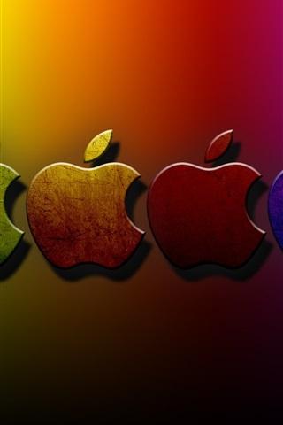 iPhone 배경 화면 3 차원 애플 다채로운 배경