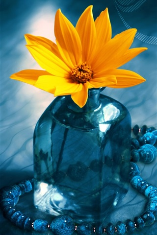 iPhone Wallpaper 3D Flower Bottle