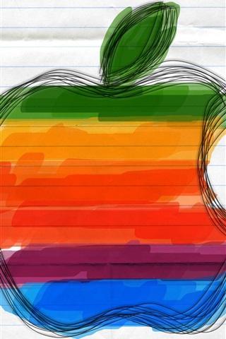 iPhone 배경 화면 애플은 종이에 그려진